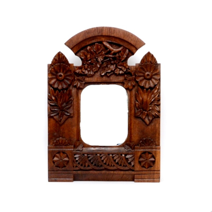 Signed and Dated Chauncey Everett Black Hand Carved Wall Mirror