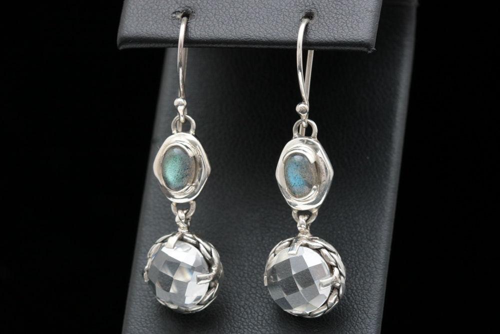 Sterling Silver, Clear Quartz and Labradorite Dangle Earrings