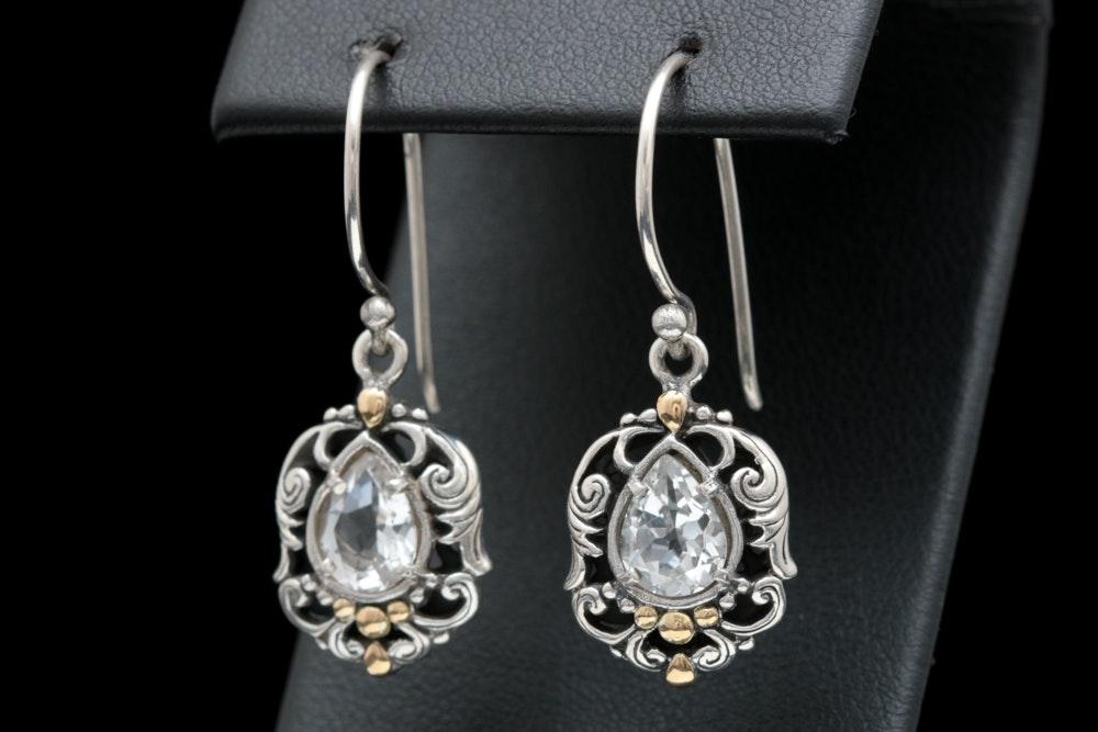 Robert Manse Sterling Silver, 18K Yellow Gold and White Topaz Dangle Earrings