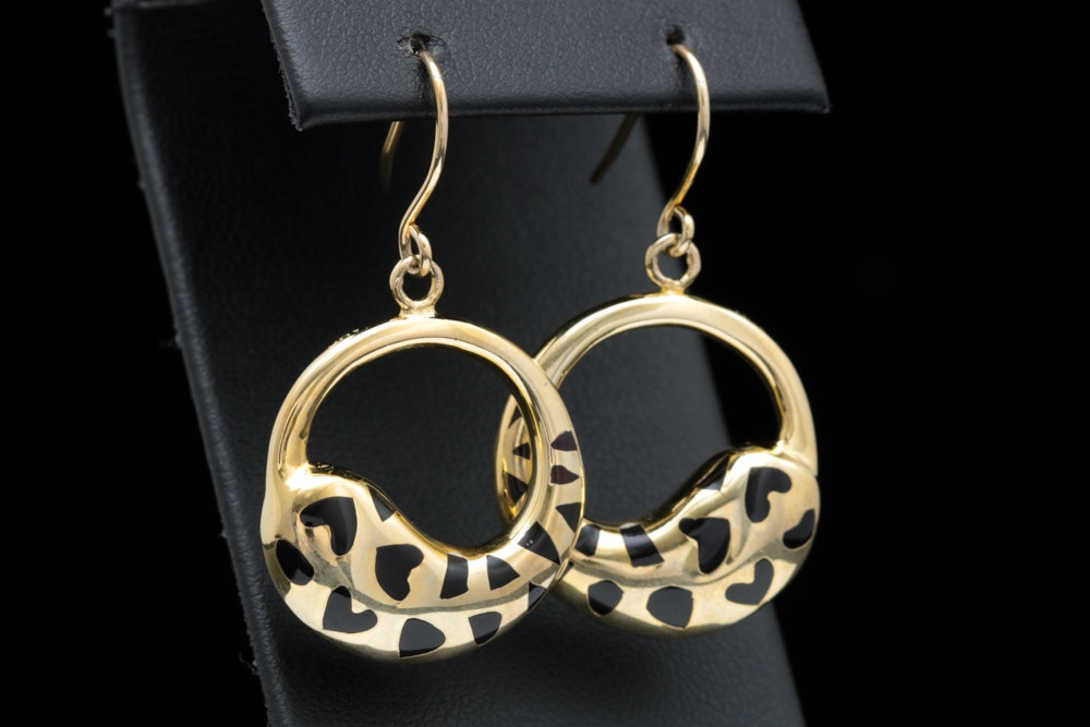 Andrew Hamilton Crawford Gold Wash on Sterling Silver and Black Resin Earrings