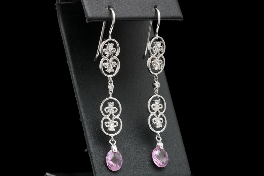 Sterling Silver, Created Pink Sapphire and Cubic Zirconia Dangle Earrings