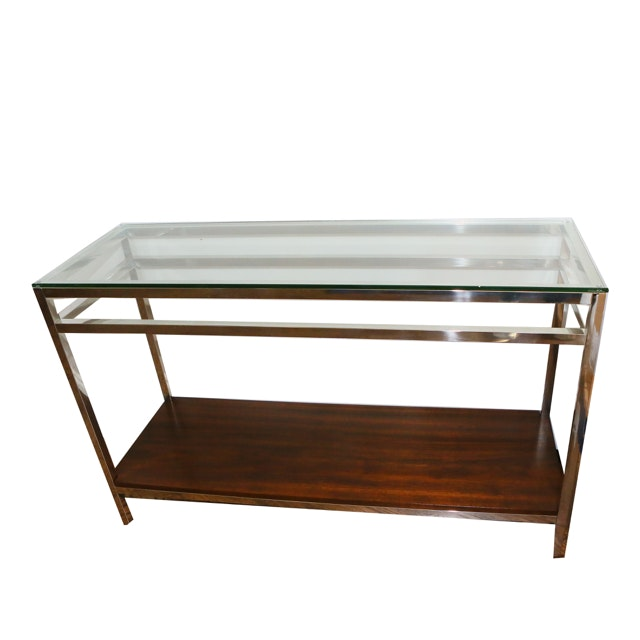 Chrome And Glass Sofa Or Console Table Ebth