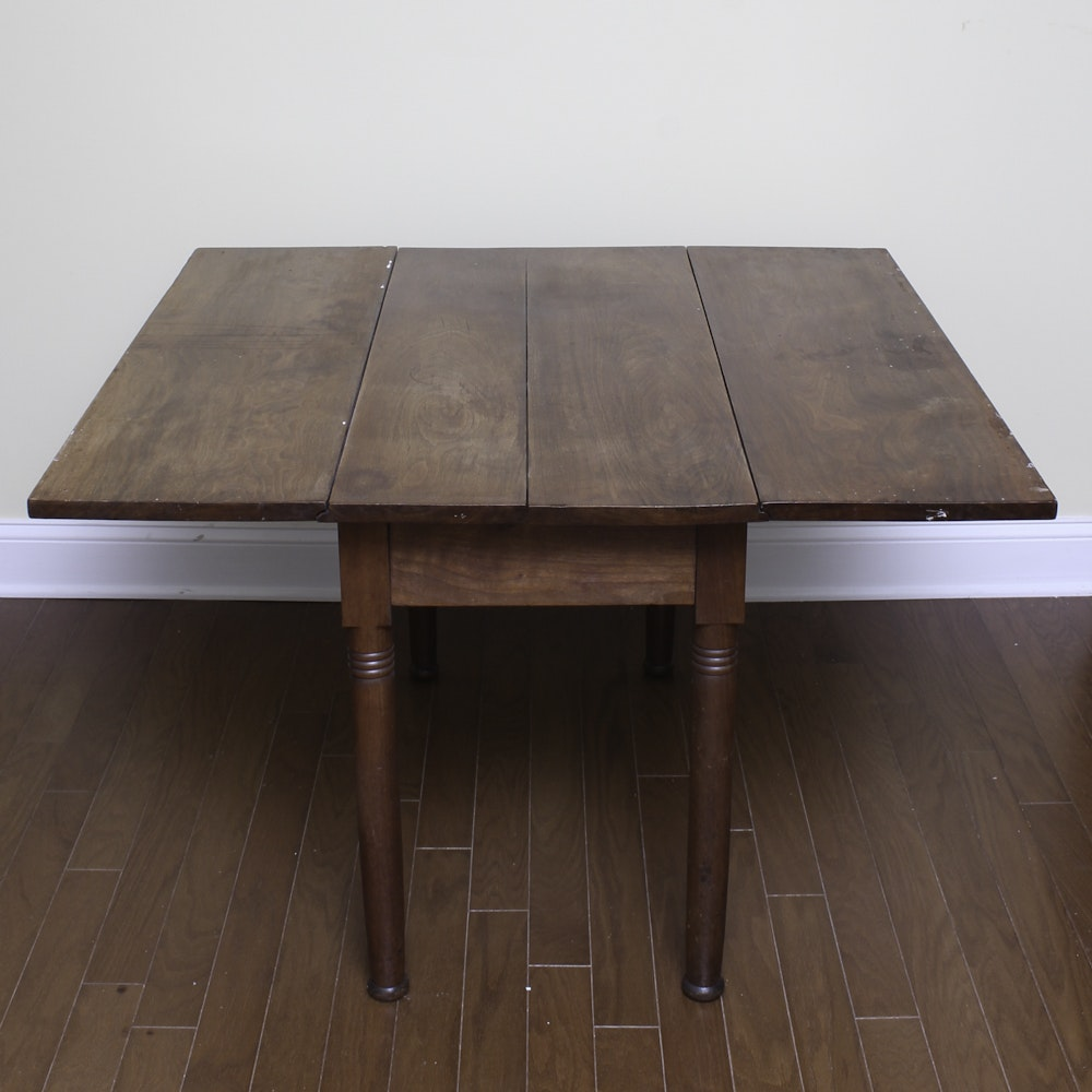Antique Walnut Drop Leaf Dining Table Ebth