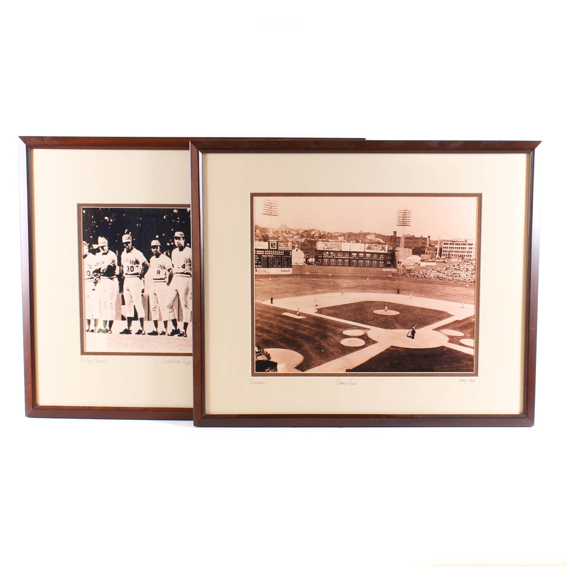 Vintage Circa 1950s and 1970s Cincinnati Reds Photographic Print Pairing