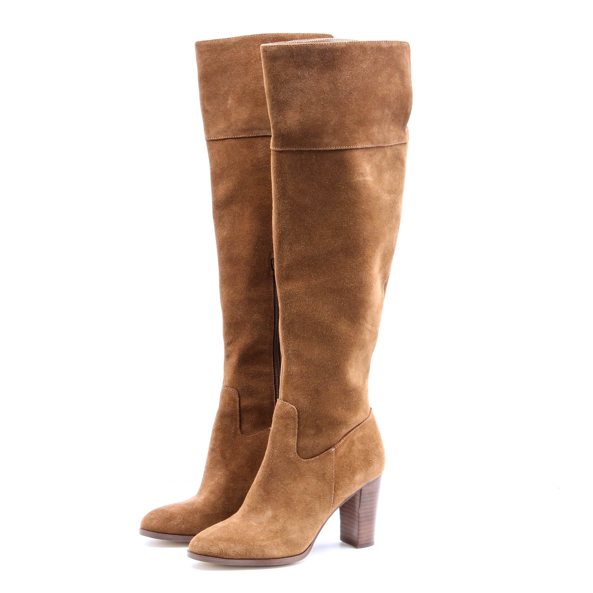 Lord & Taylor Suede Stacked Heel Knee High Boots
