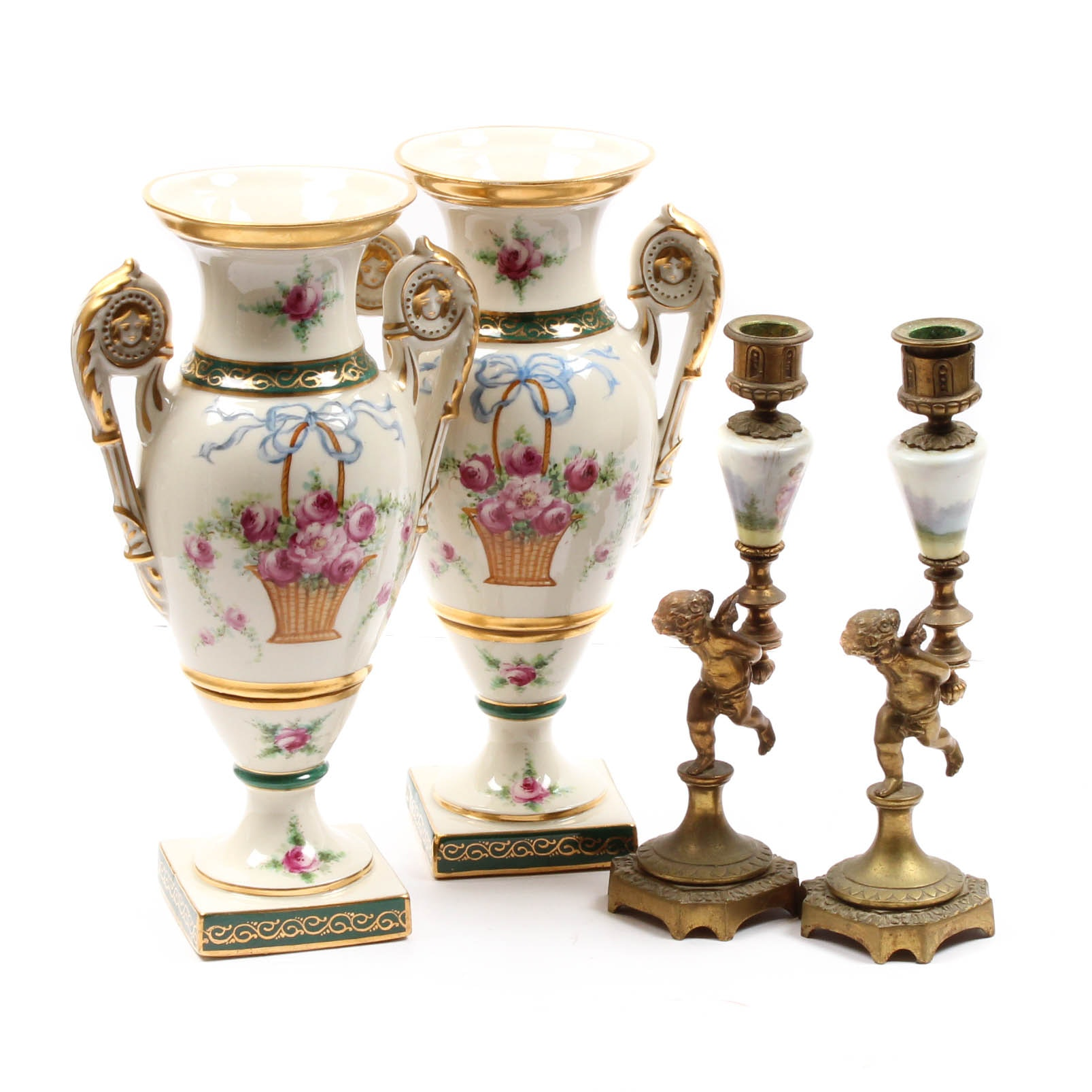 Vintage Leon Hand-Painted Ceramic Urn Pair and Brass Candlesticks