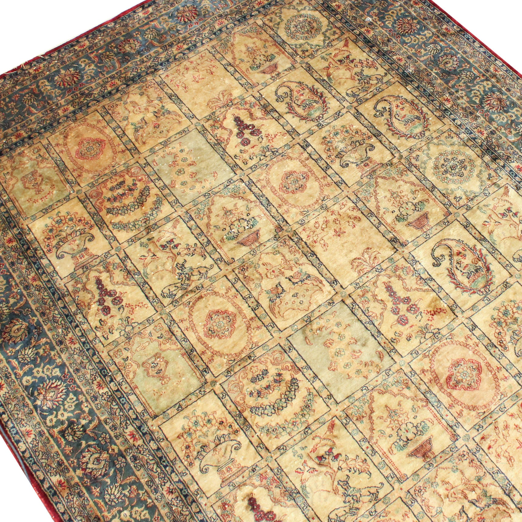 Power-Loomed Persian Pictorial Silk Area Rug