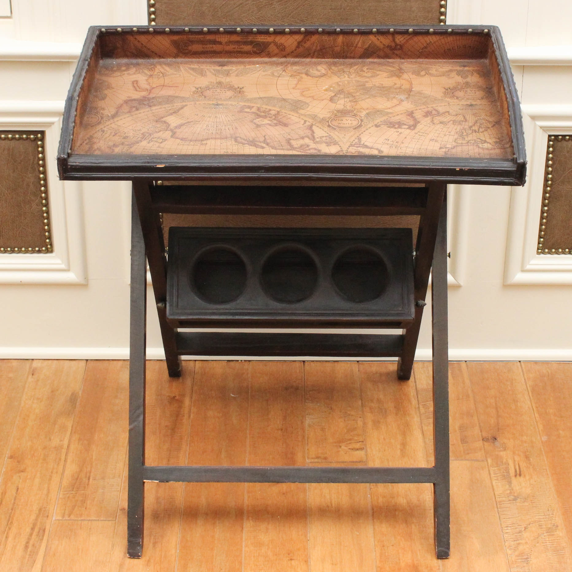 Old World Style Accent Table with Leatherette Accents