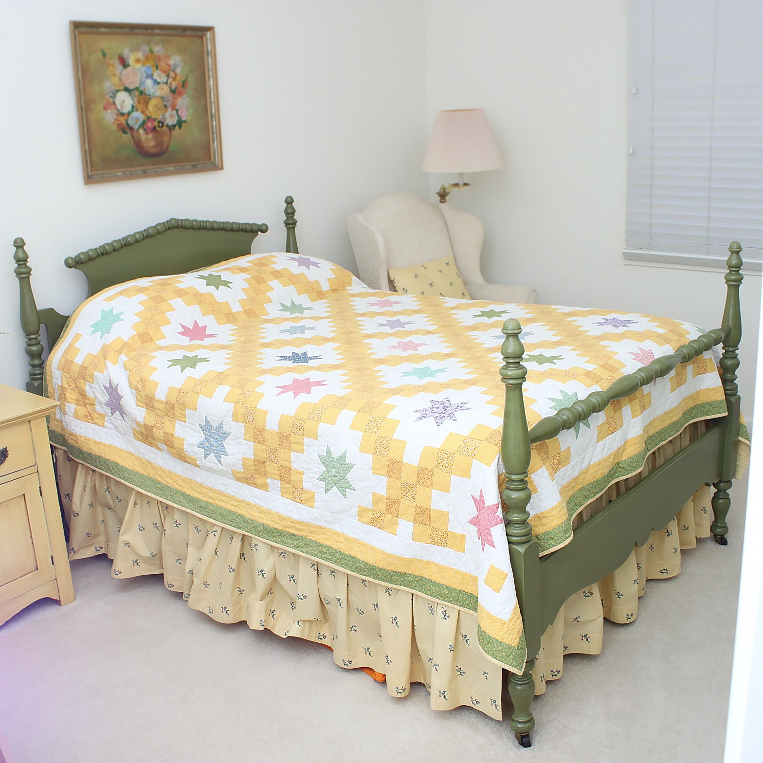 Vintage Painted Full Size Bed Frame
