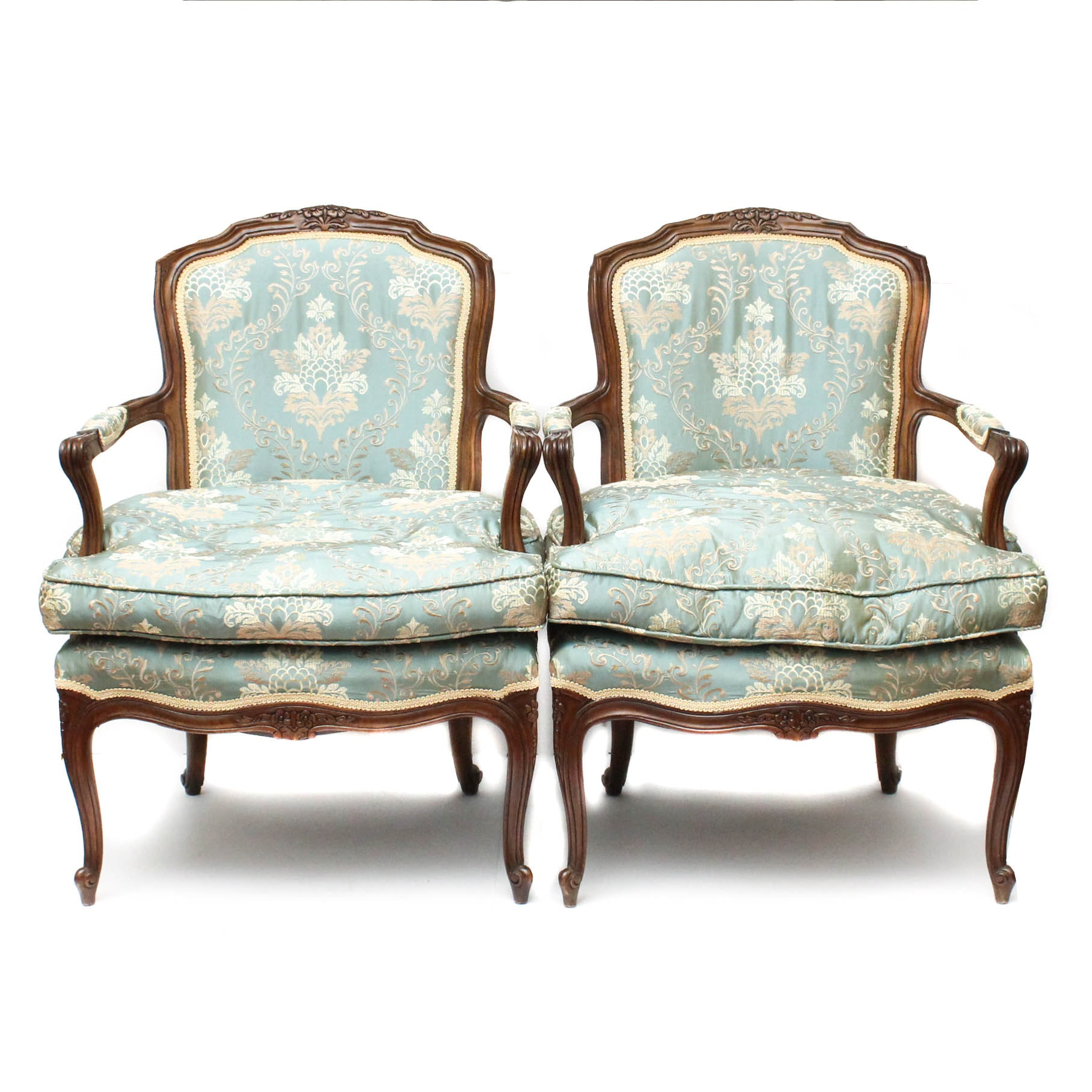 Louis XV Style Down Filled Armchairs