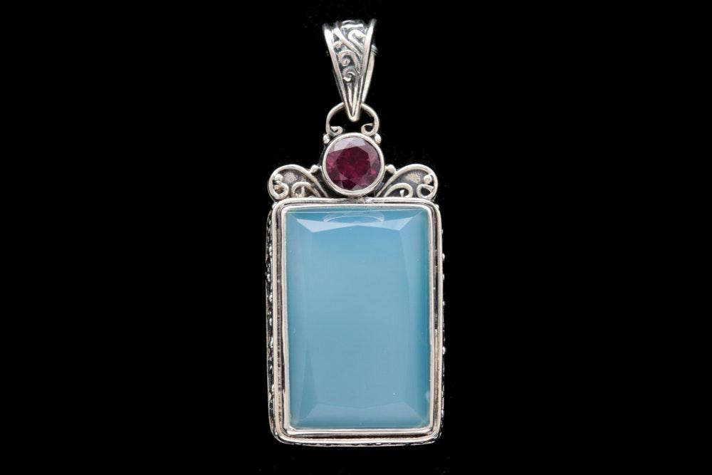 Sterling Silver, Chalcedony and Rhodolite Garnet Pendant