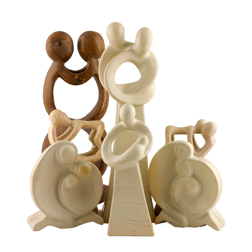 Handcrafted Stone Family Sculptures from Kenya