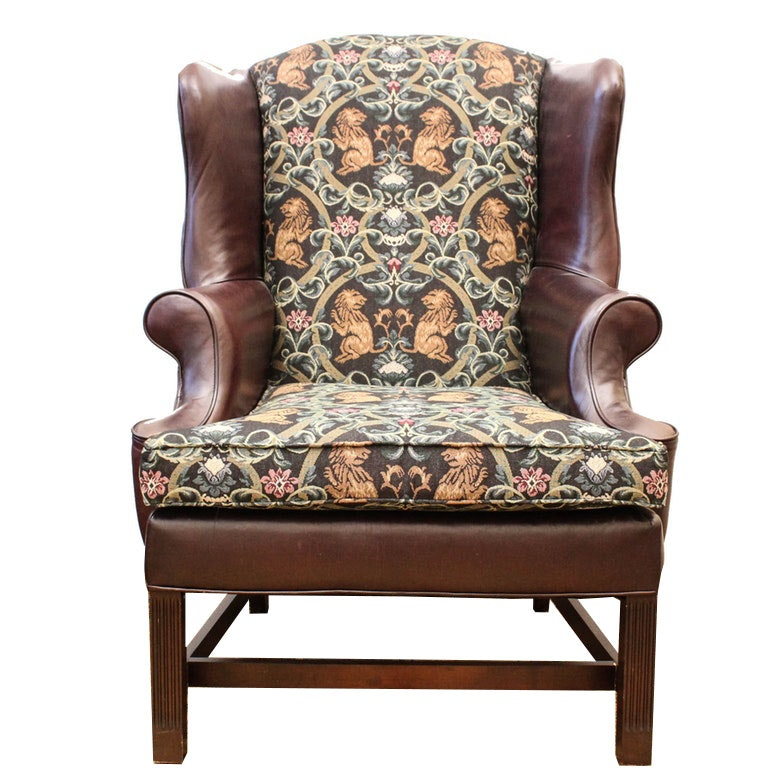 Henredon Brown Leather and Fabric Upholstered Wingback Armchair
