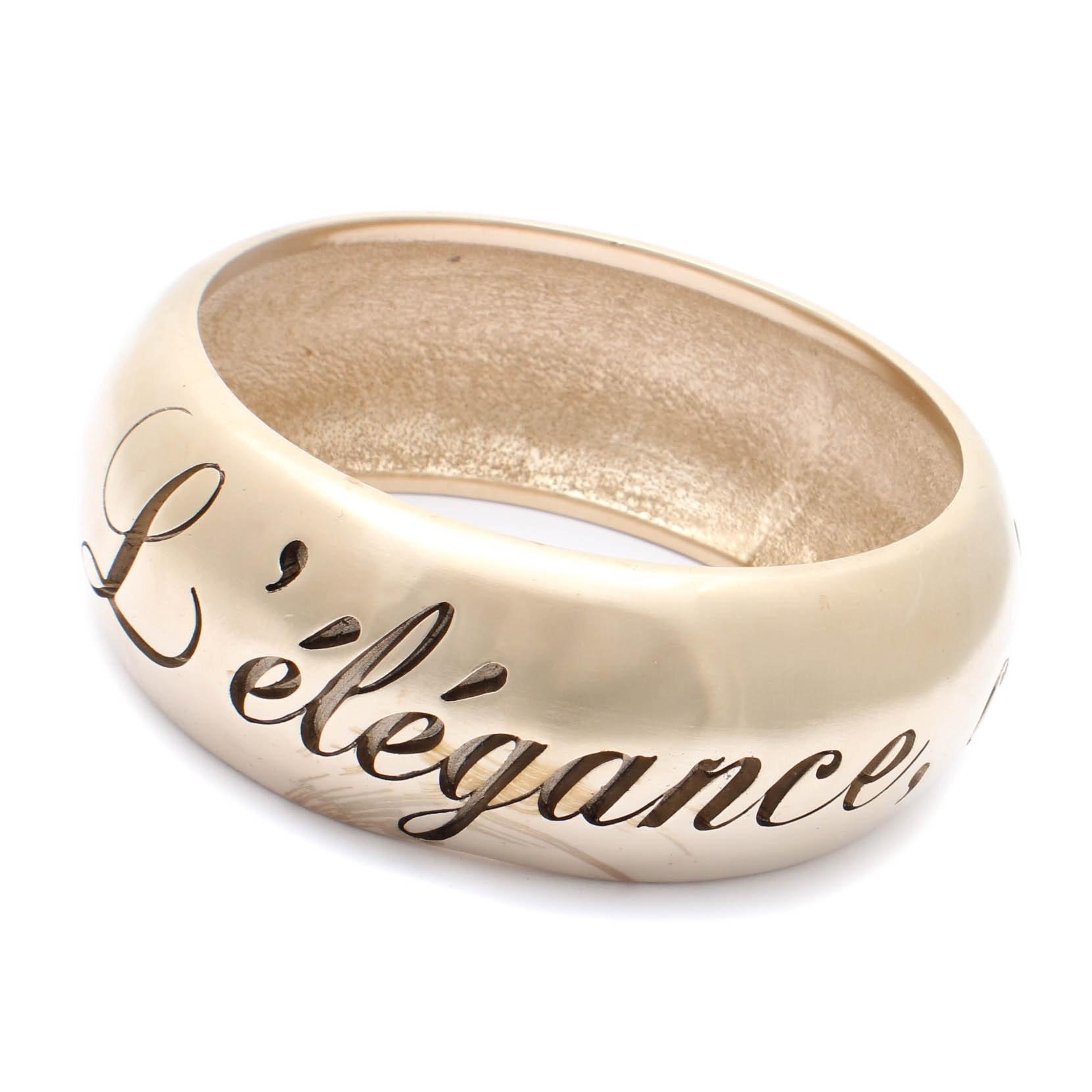 Chanel L'elegance Gold Tone Bangle Bracelet