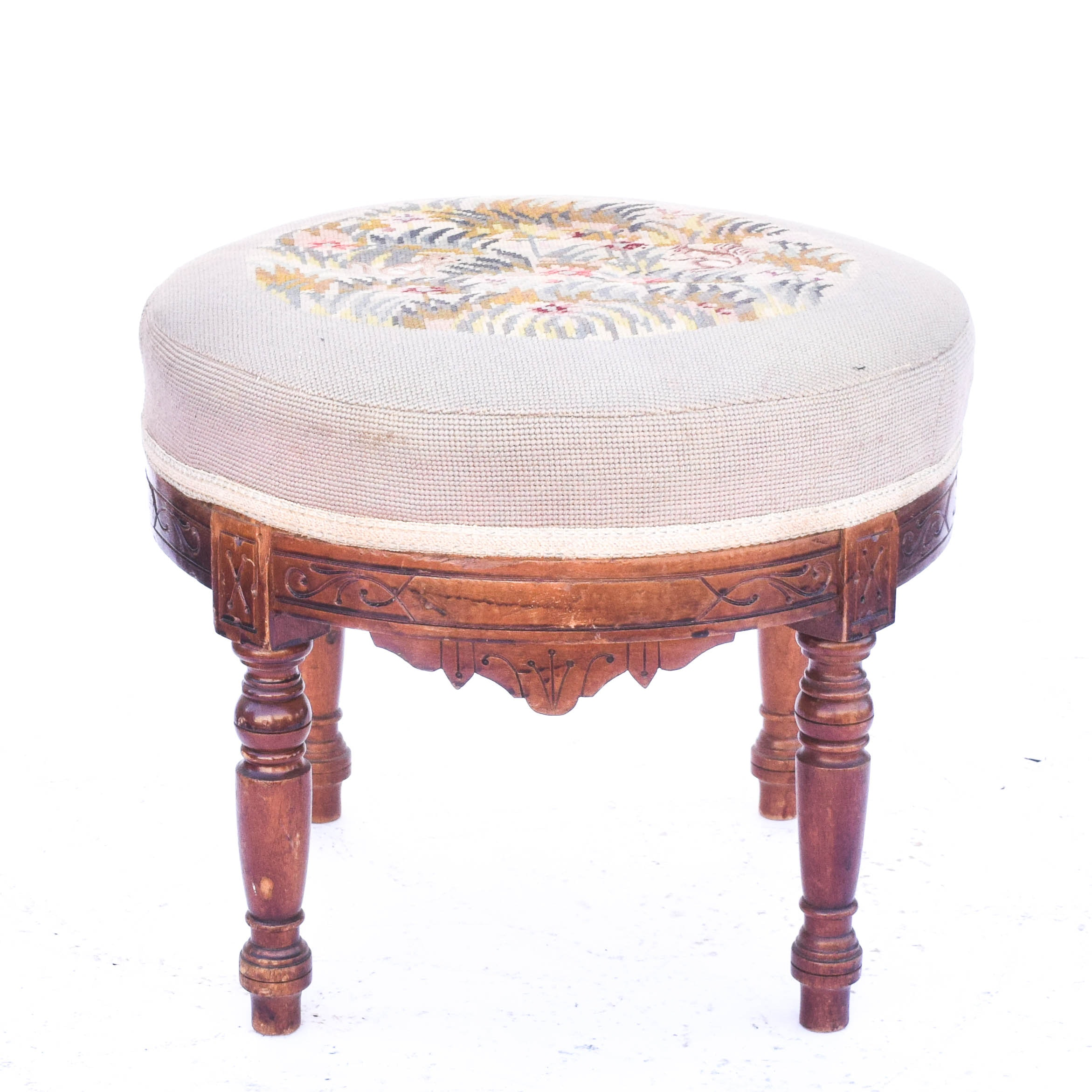 Victorian Eastlake Needlepoint Stool