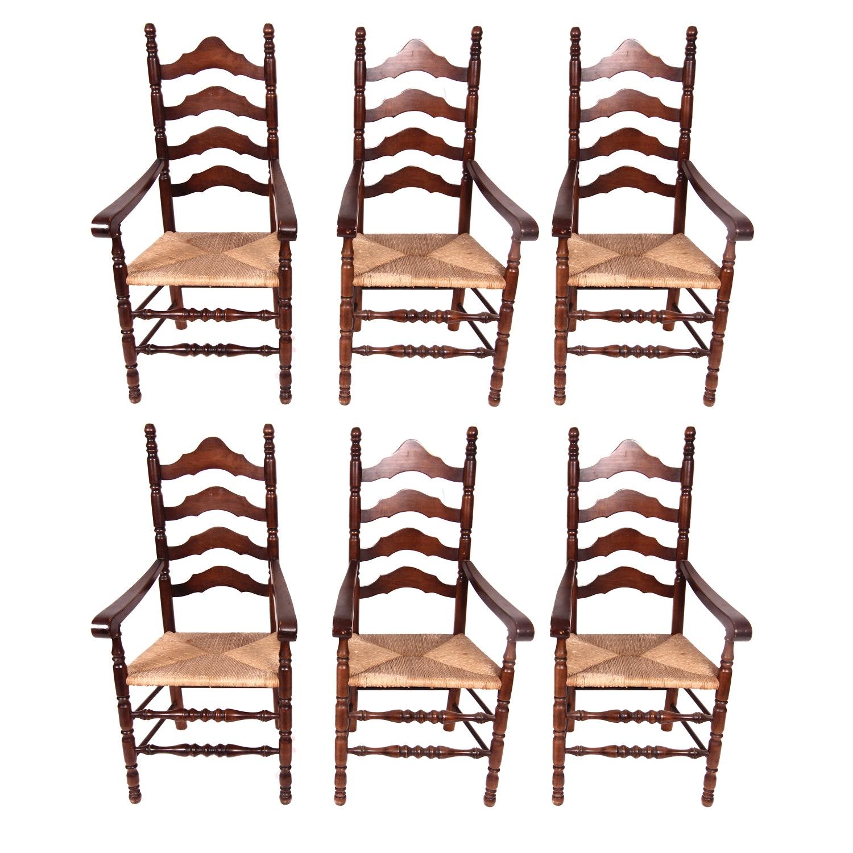 Six Mahogany Finished Ladder Back Armchairs