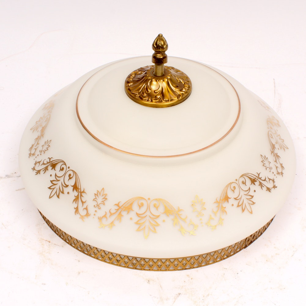 Vintage French Gold and Cream Flushmount Ceiling Light