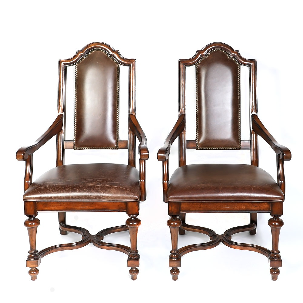 Jacobean Revival Style Captain's Chairs by Stanley Furniture