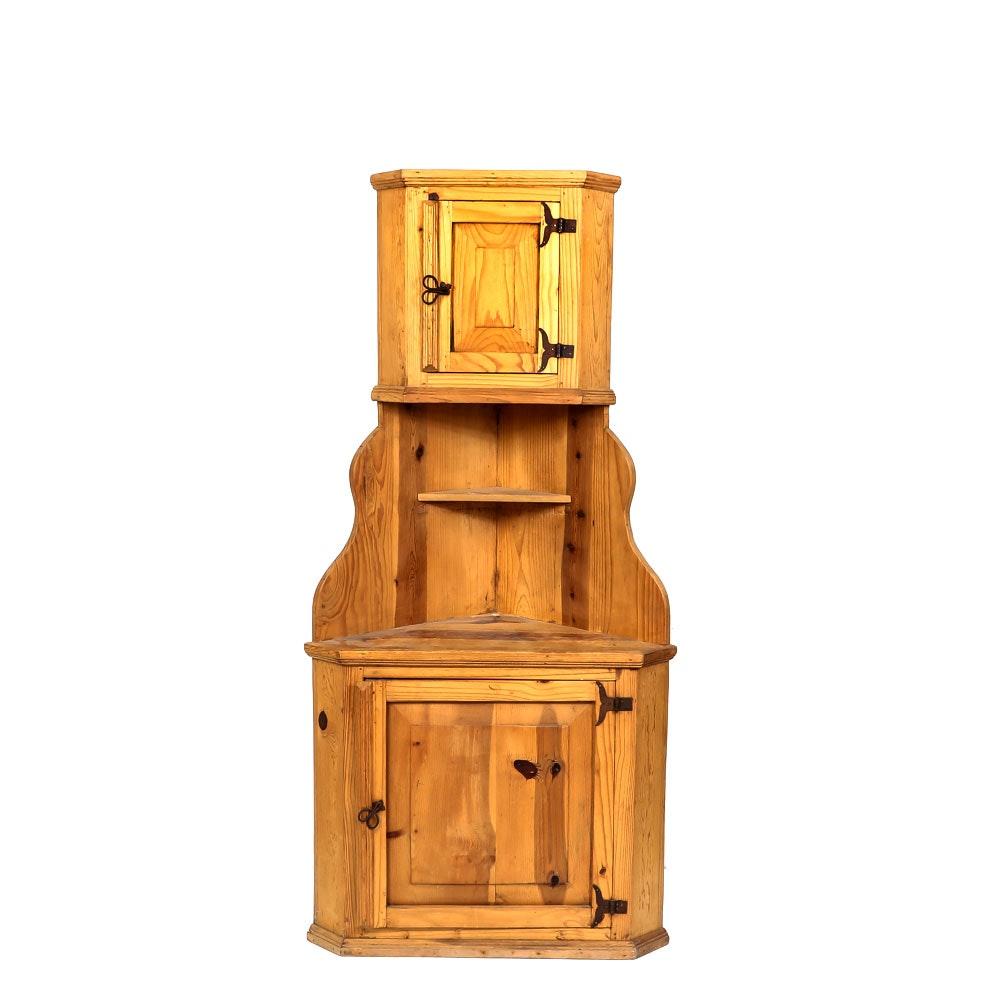 Vintage Pine Corner Hutch Cabinet