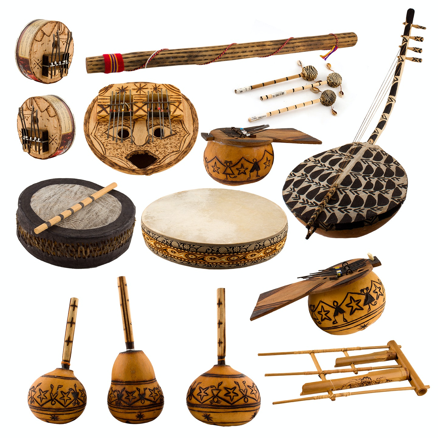 Large Assortment of Handcrafted African Instruments from Ten Thousand Villages