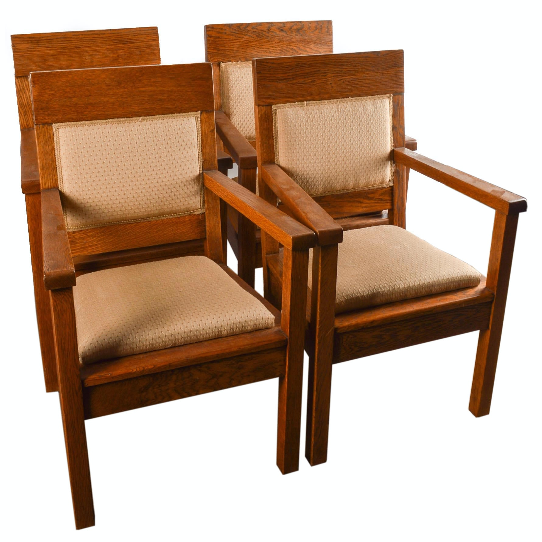 Mission-Style Oak Armchairs