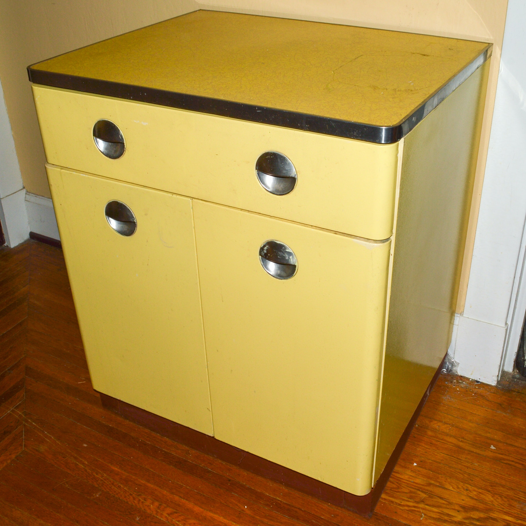 Vintage Mid-Century Freestanding Metal Cabinet