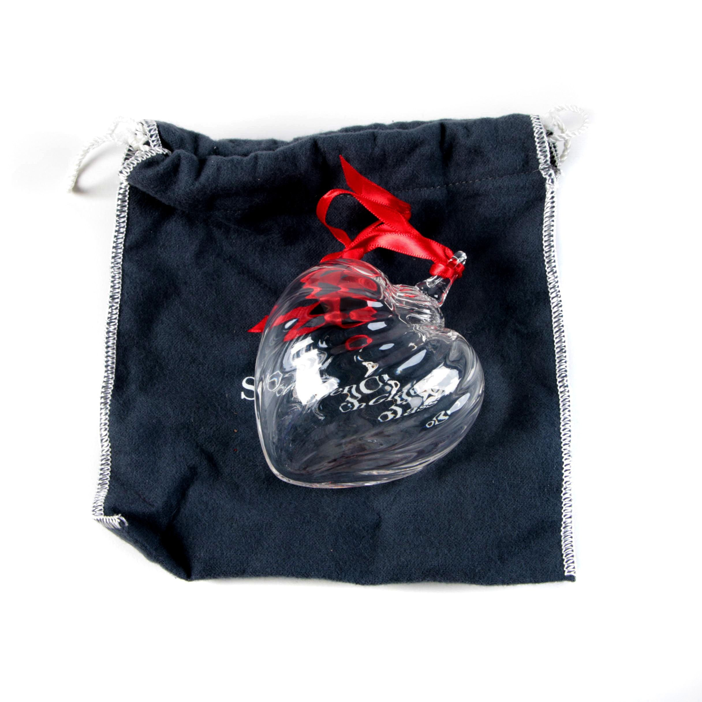 Steuben Crystal Heart Christmas Ornament