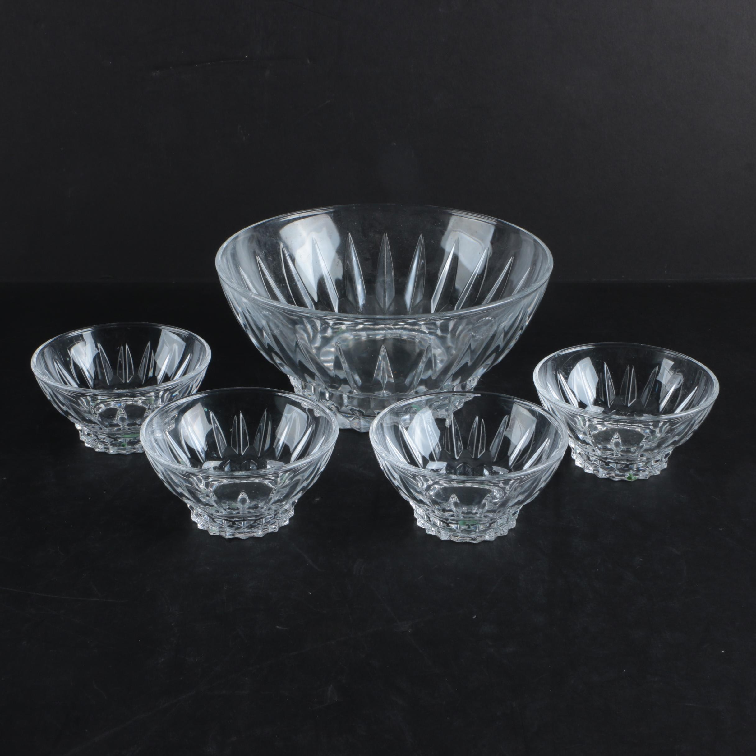 Glass Serving Bowl and Dessert Bowls