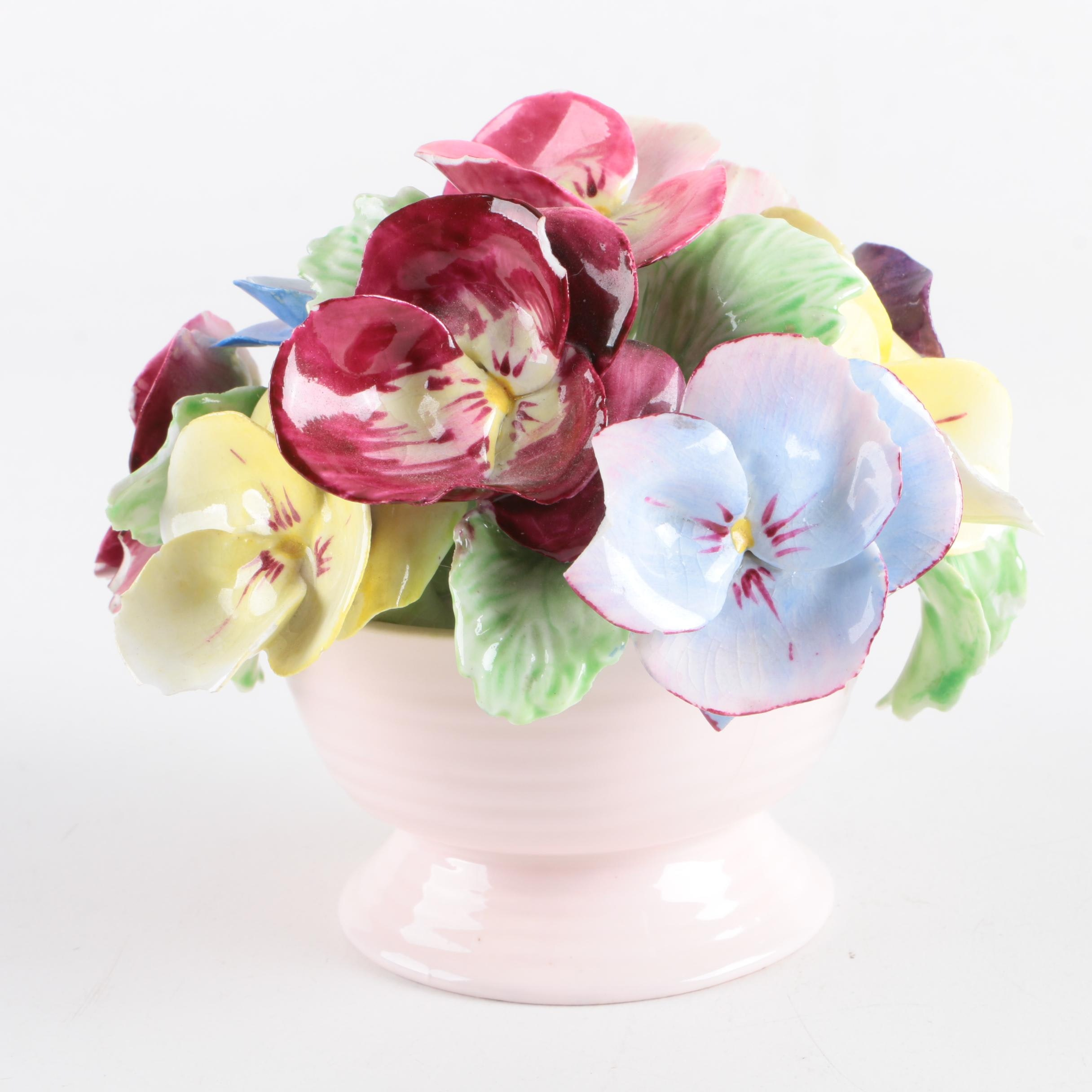 English Floral Bone China Impatiens Flower Bouquet Sculpture
