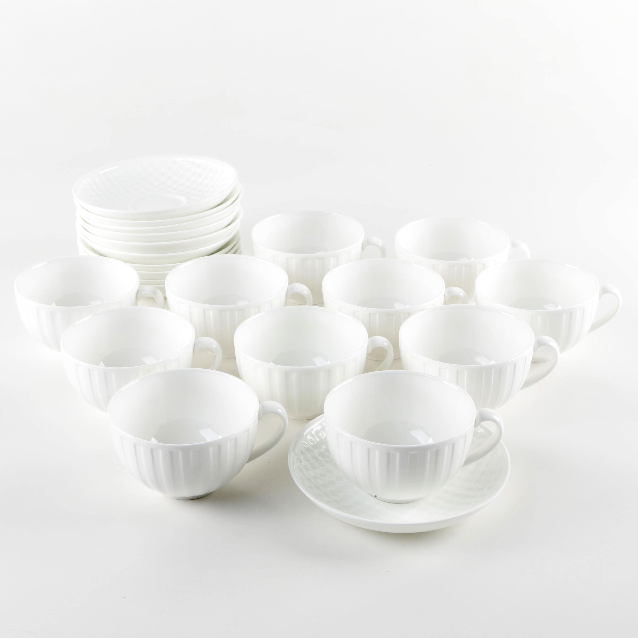 """Wedgwood """"Night and Day"""" Bone China Teacups and Saucers"""