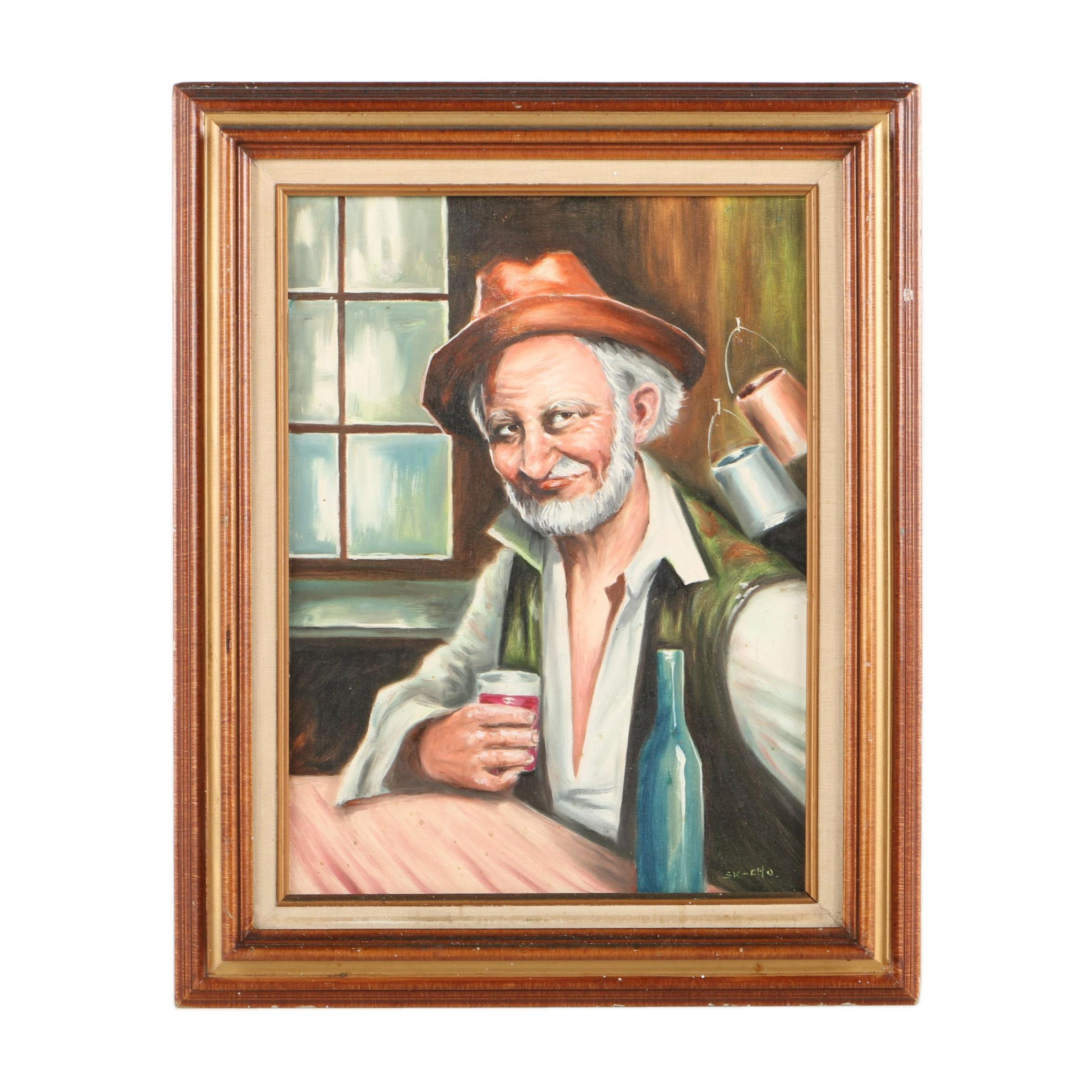 Oil Painting on Canvas Board of Elderly Man with Drink