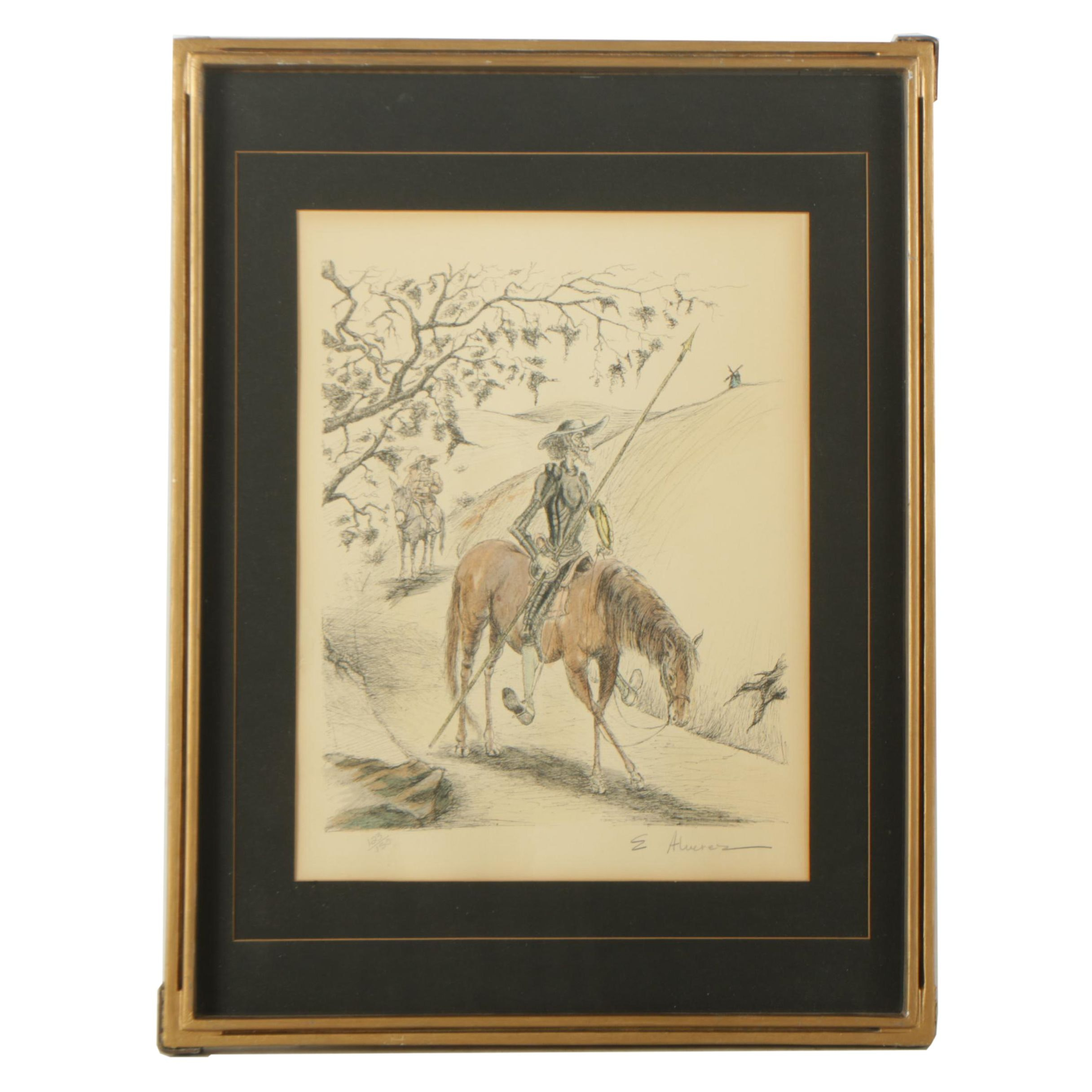 E. Alvarez Signed Limited Edition Lithograph of Don Quixote