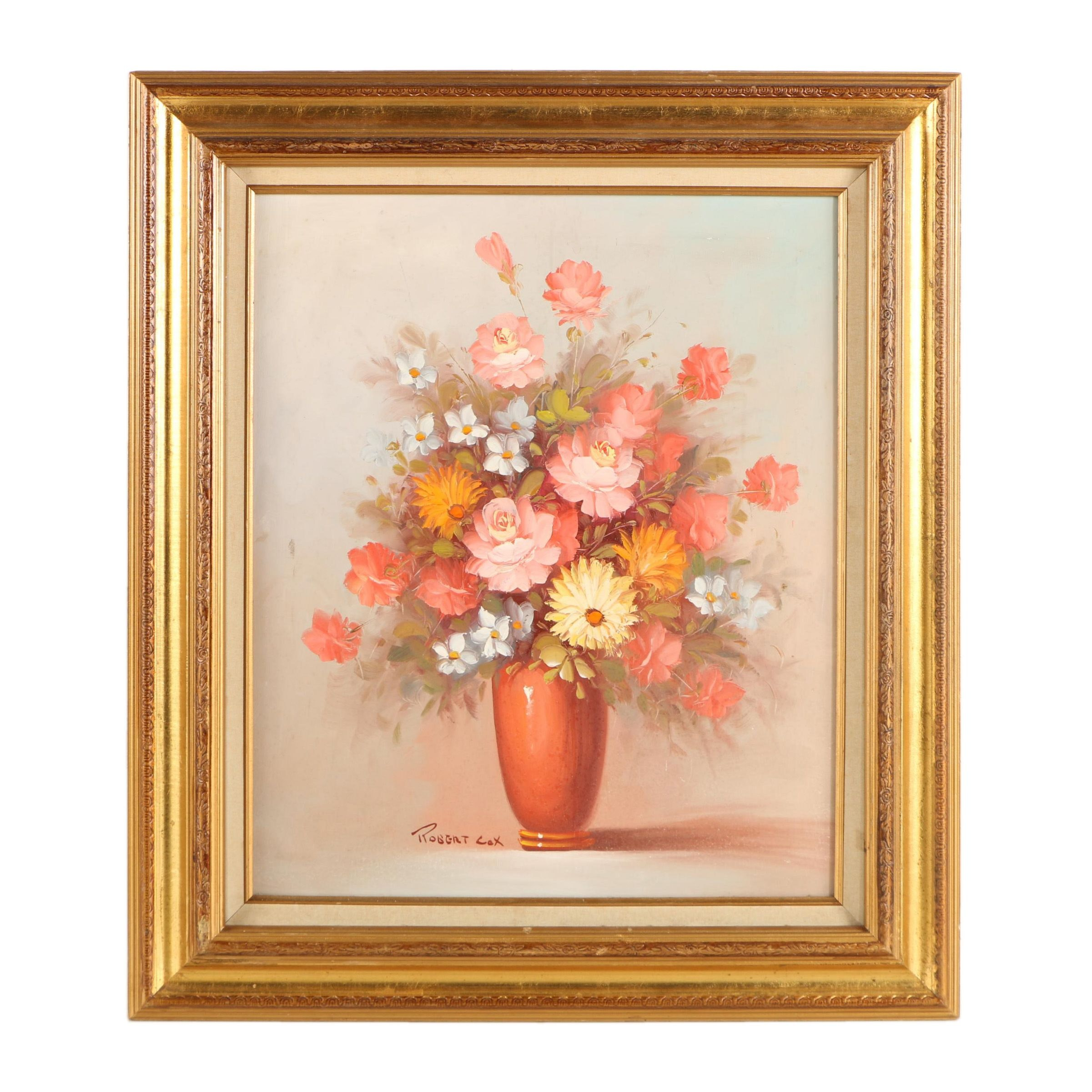 Robert Cox Oil Painting on Canvas Floral Still Life