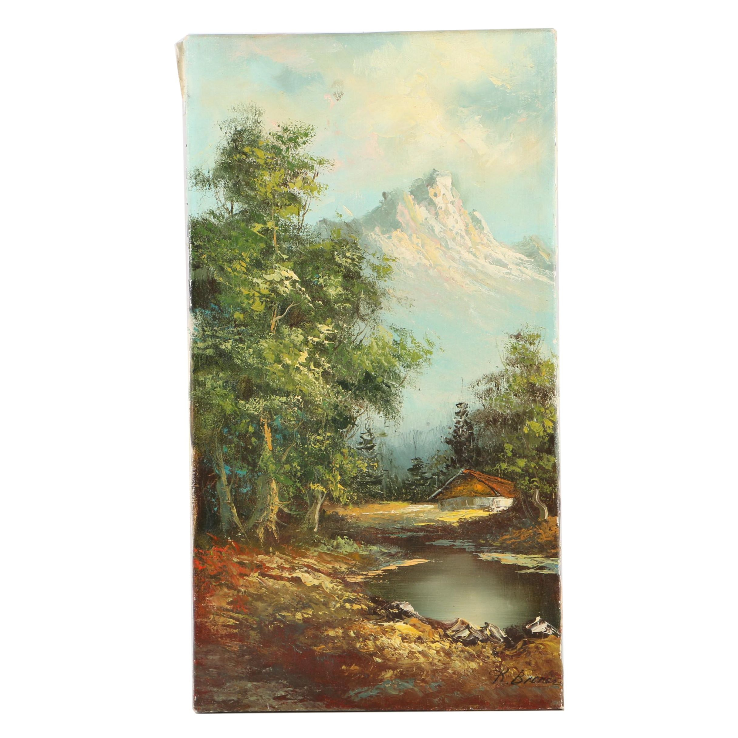 K. Broner Oil Painting on Canvas of a Mountain Landscape