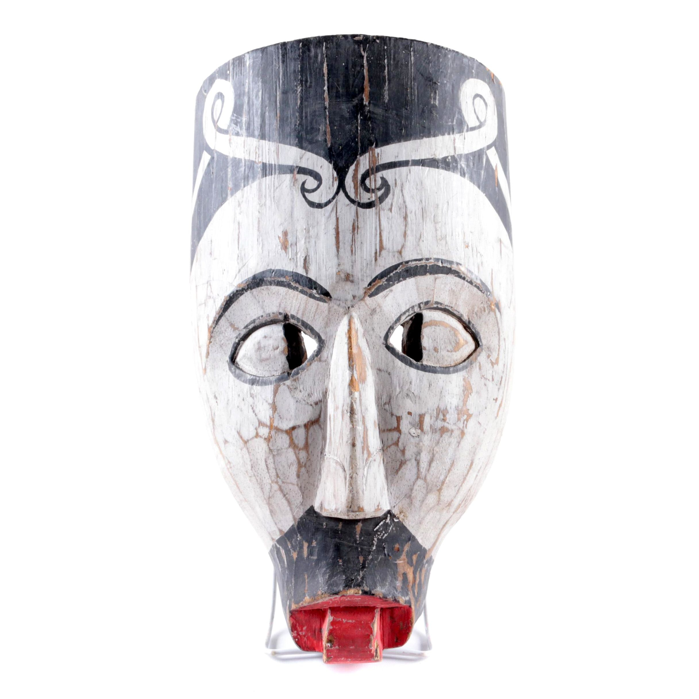 Hand Carved Painted Wood Mask