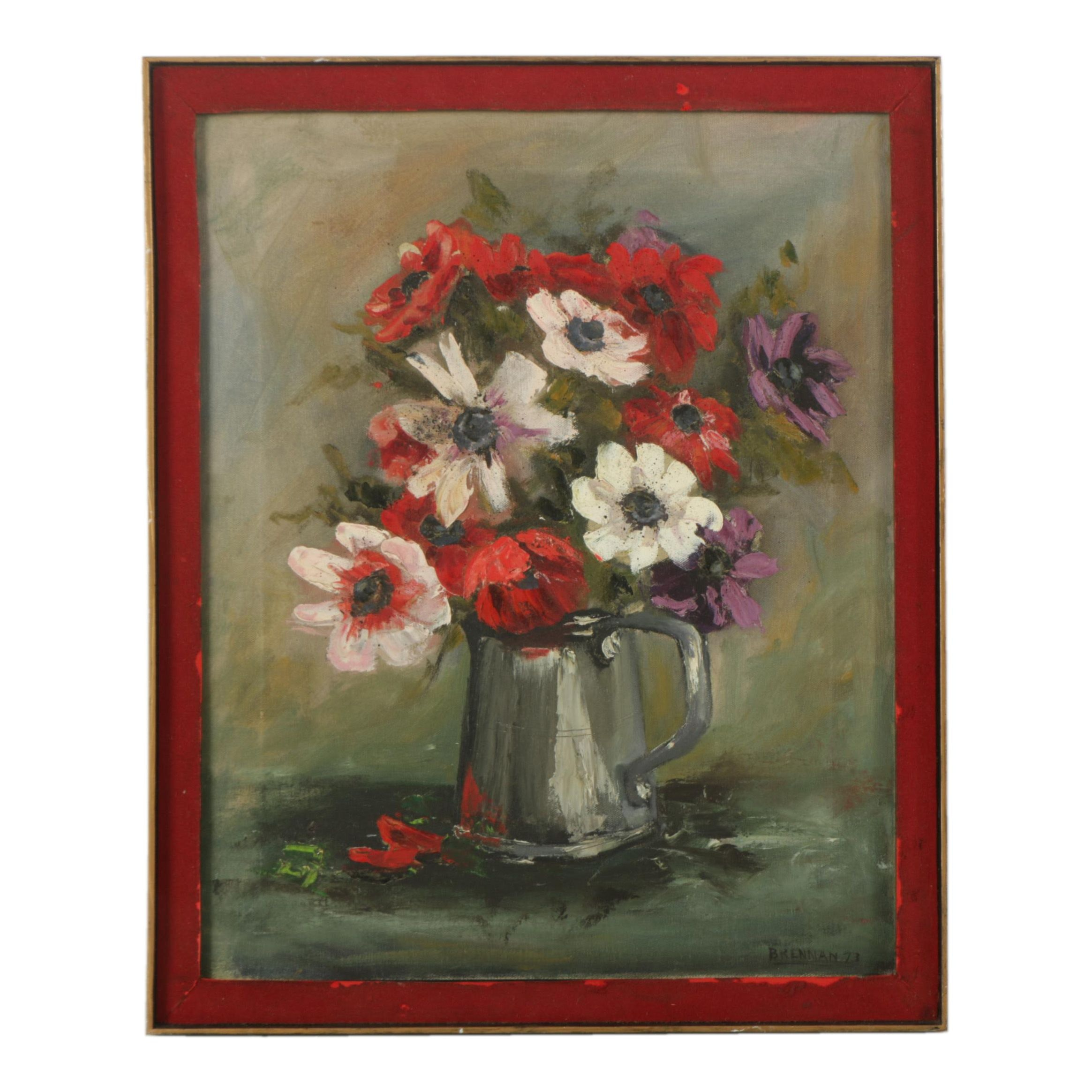 Brennan Oil Painting on Canvas of a Floral Still Life