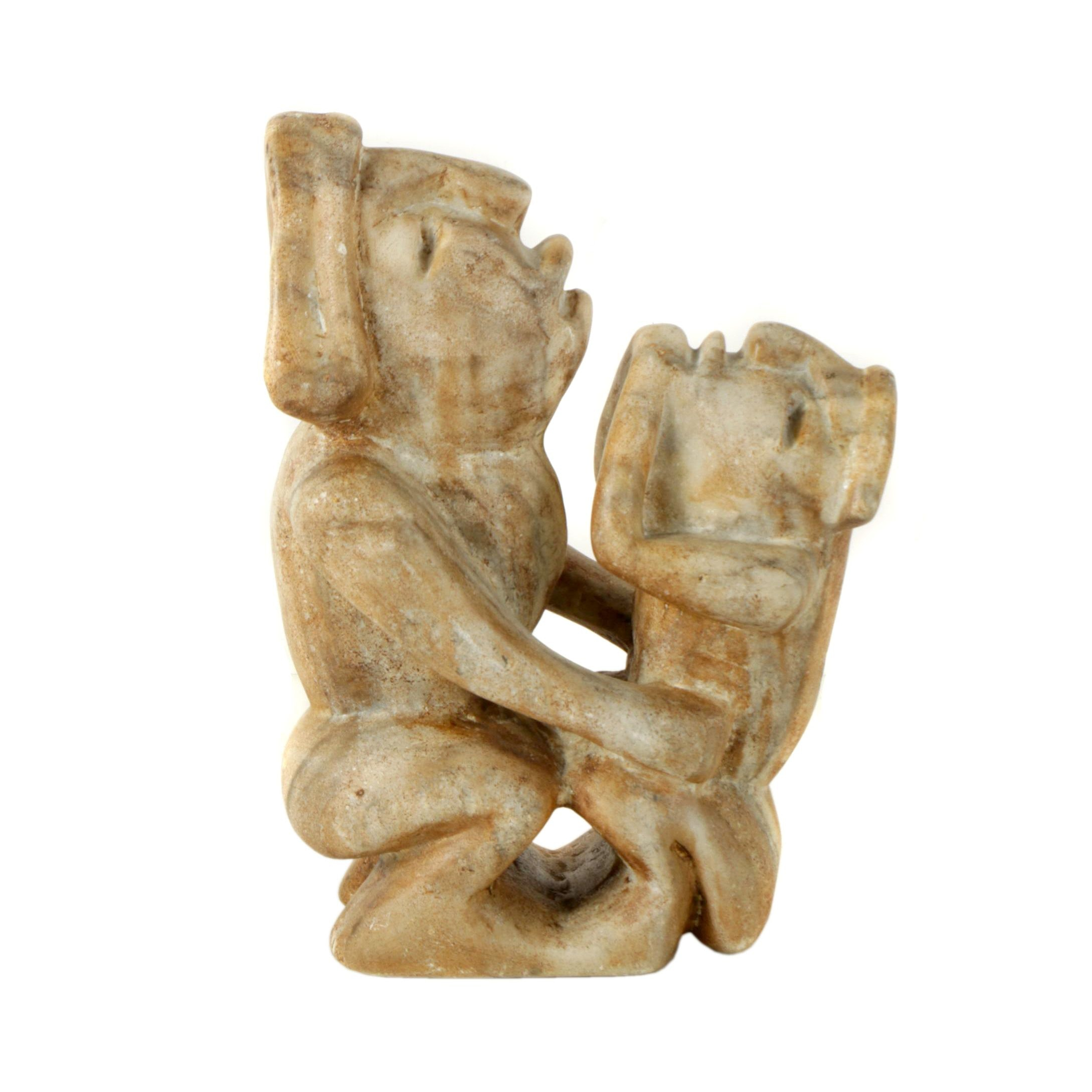 Mesoamerican Style Marble Sculpture of Two Figures