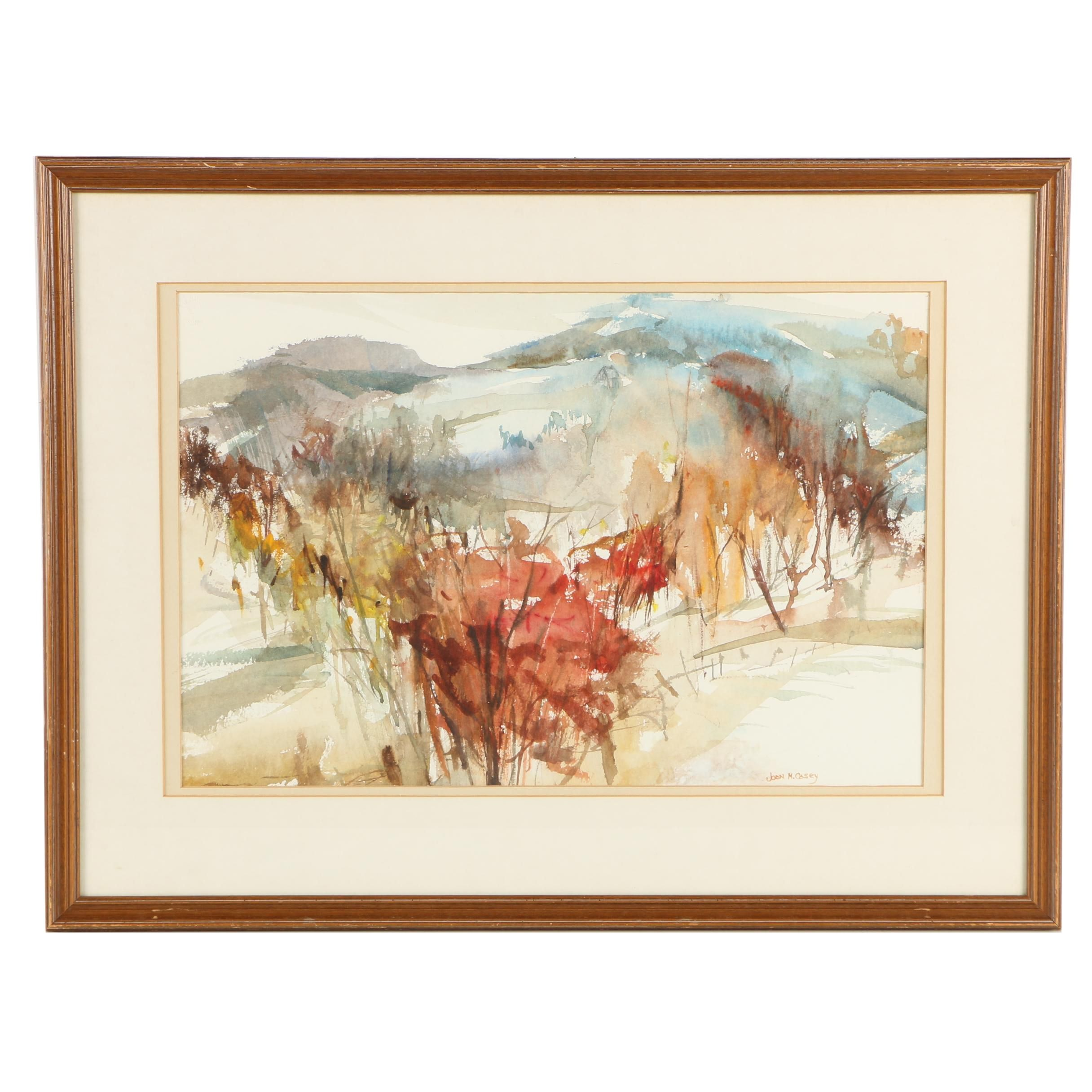 Joan M. Casey Abstract Watercolor Painting of Autumnal Landscape