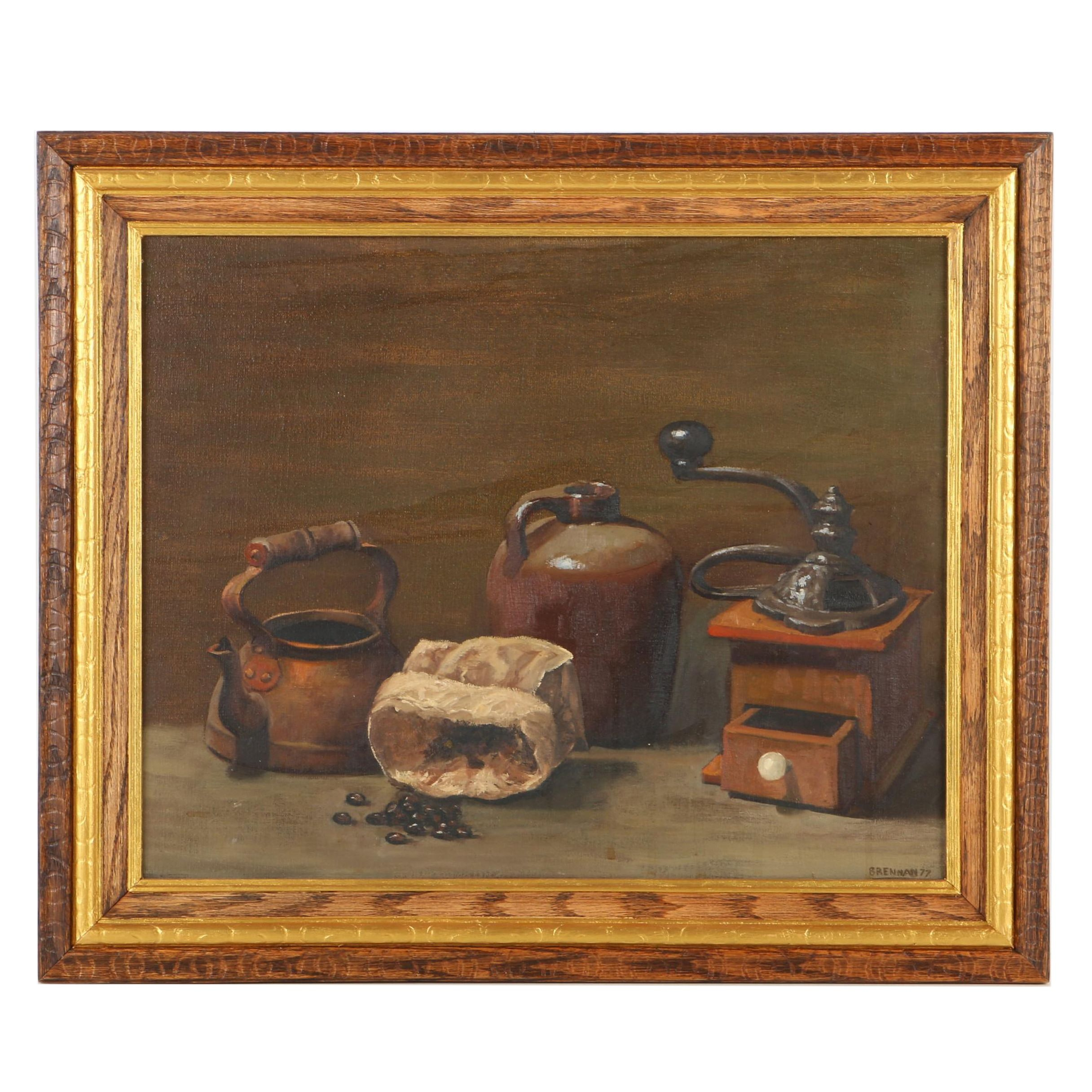 Brennan Oil Painting on Canvas Still Life with Coffee Supplies