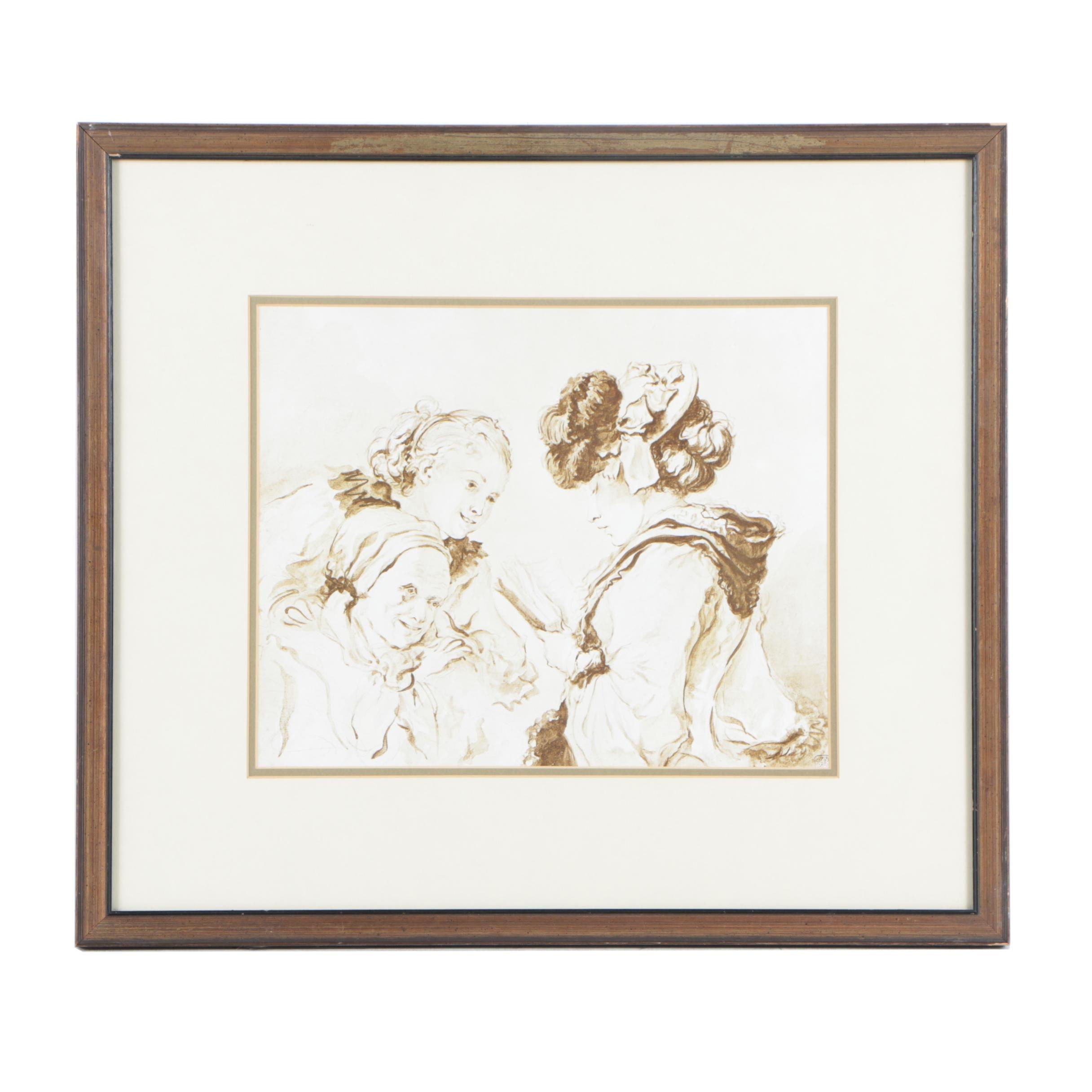 "Reproduction Print After Jean-Honore Fragonard ""La Lecture"""