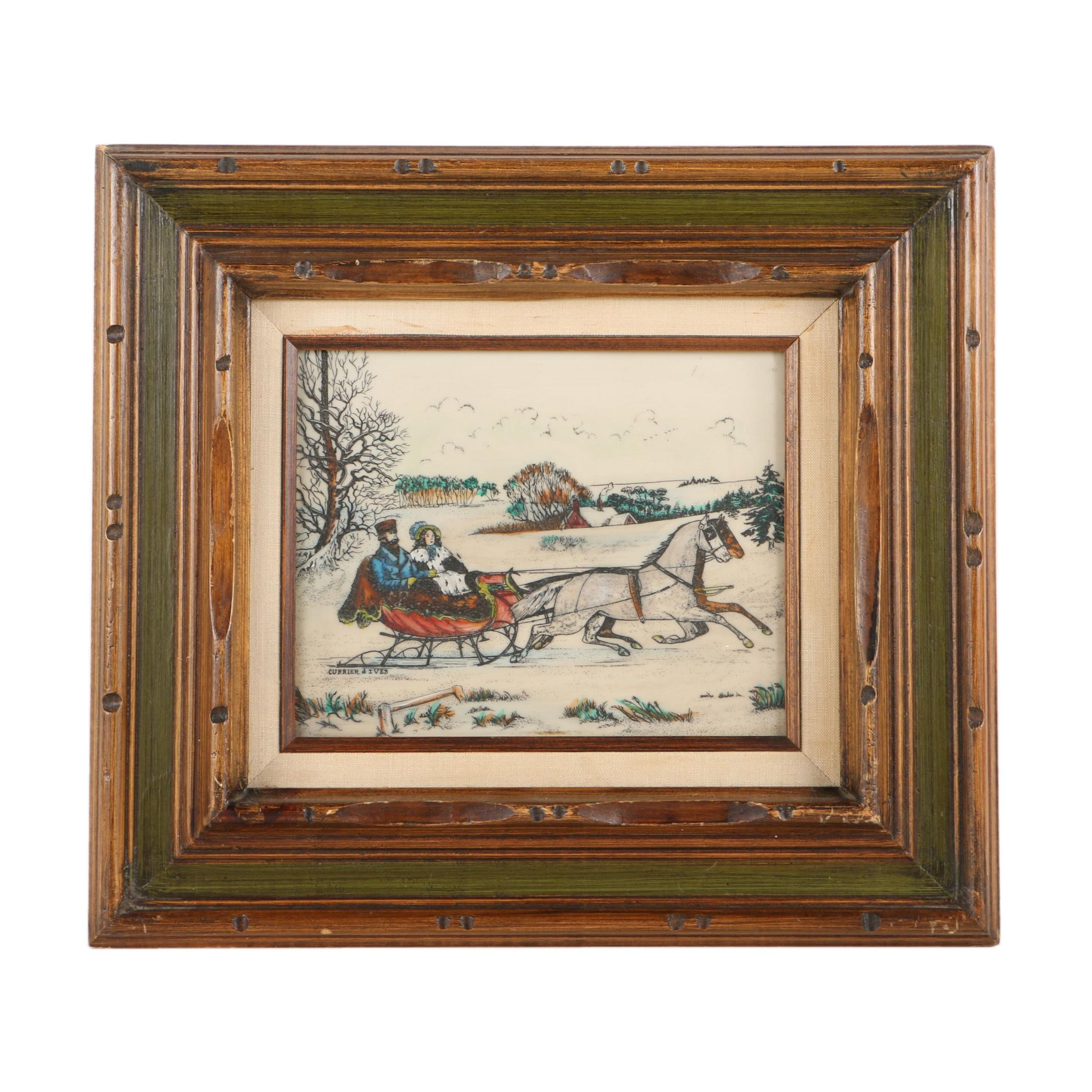 Reproduction Currier & Ives Print on Resin