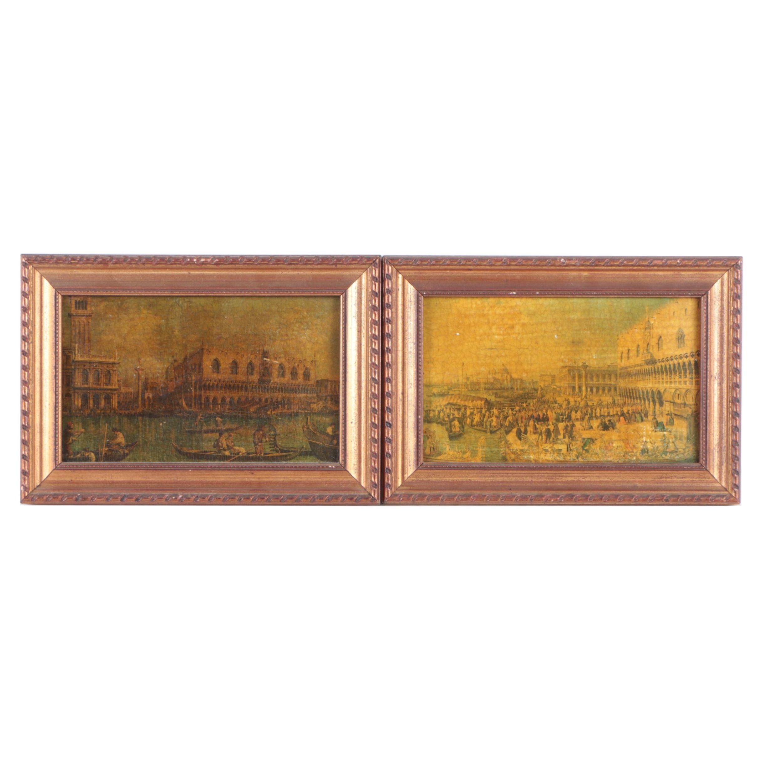Offset Lithographs on Board Venetian City Scenes