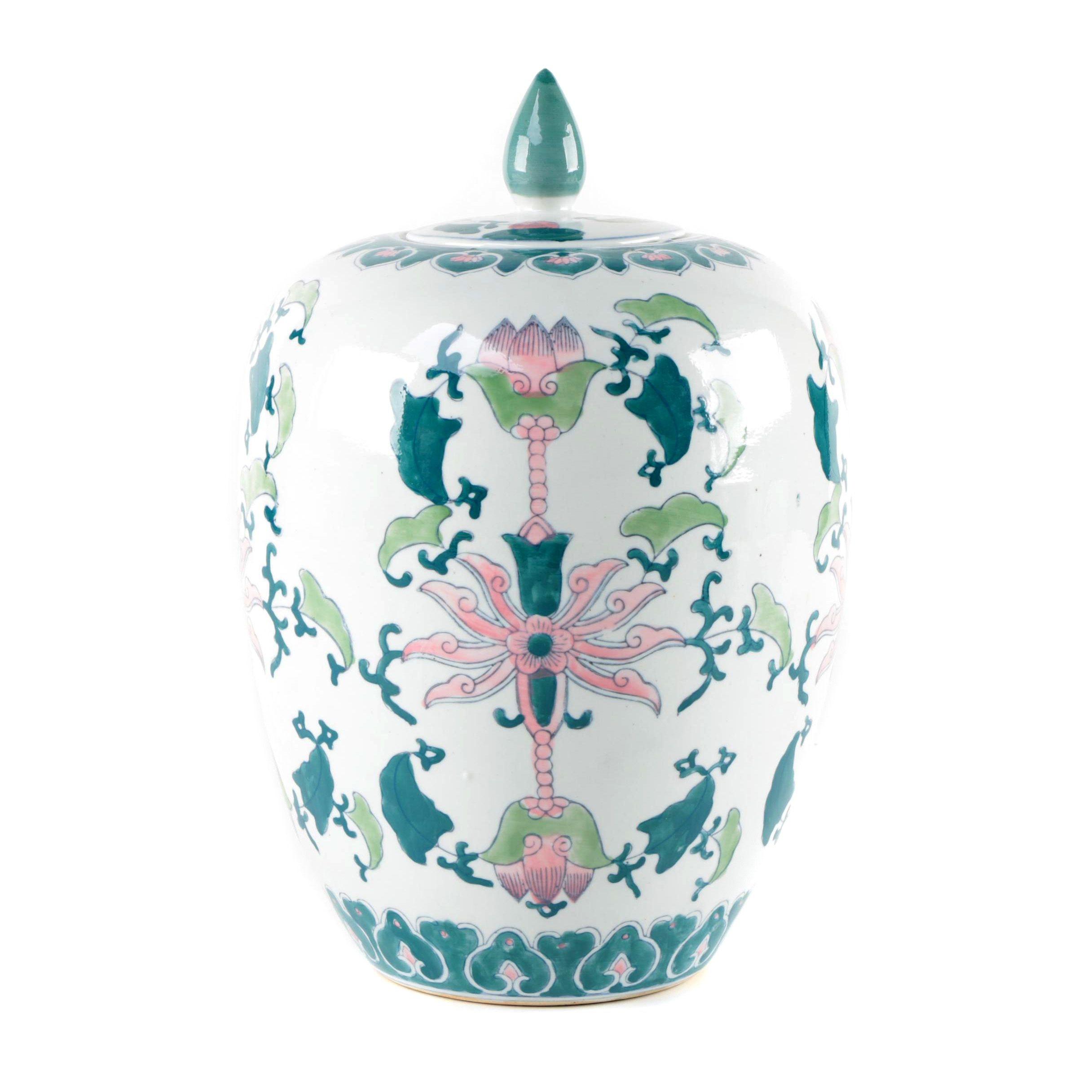Chinese Porcelain Lotus Flower Jar