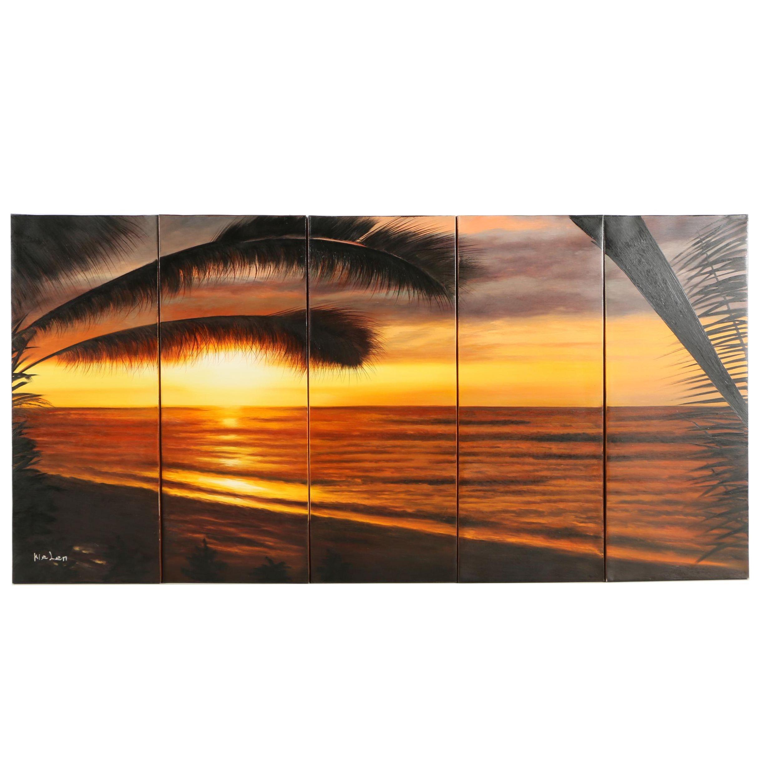Kielen Oil on Canvas Polyptych of a Tropical Landscape