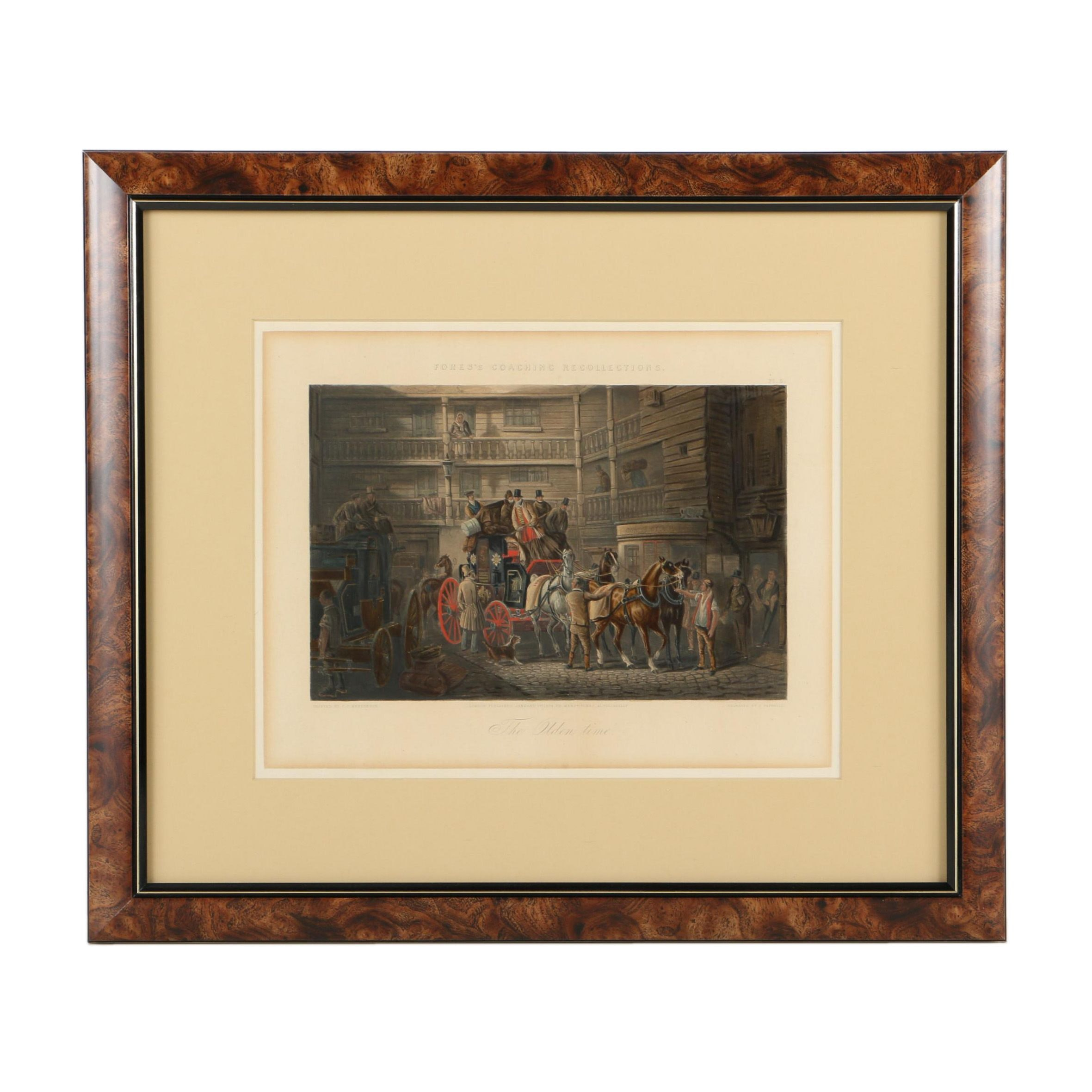 "Henry Papprill Hand-Colored Engraving on Paper ""The Olden Time"""
