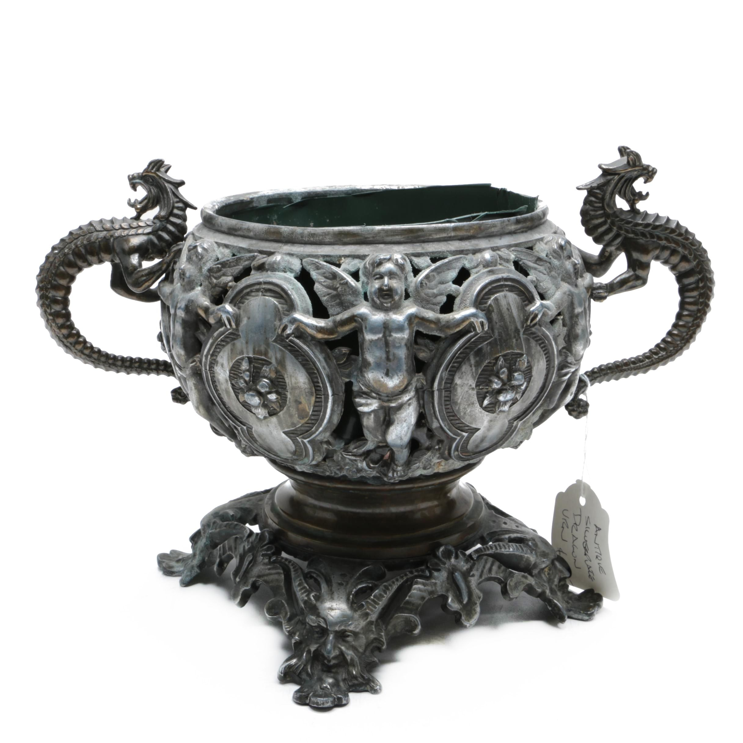 Vintage Silver-Plated Urn Console Bowl with Dragon Handles