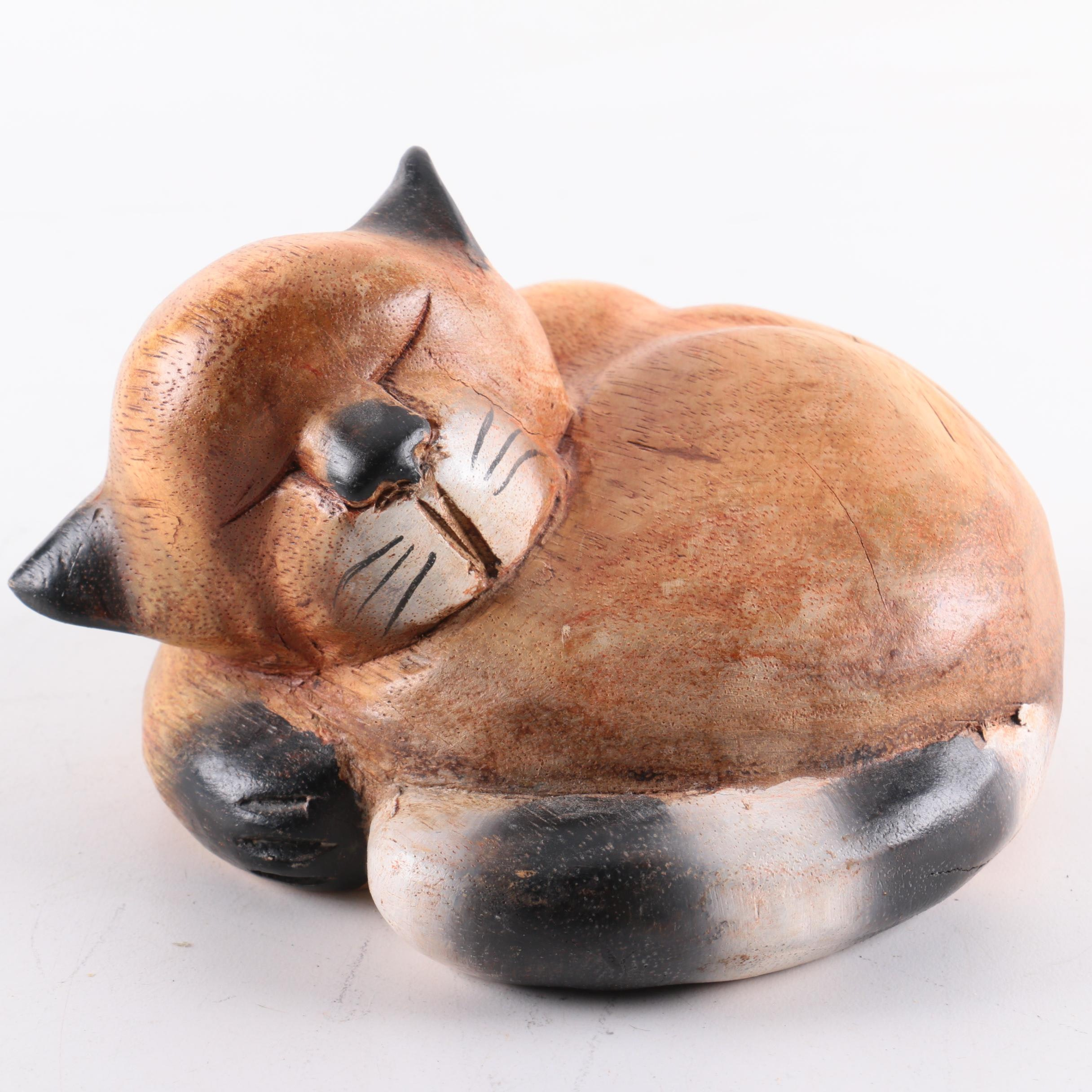 Sleeping Carved Wooden Cat Sculpture