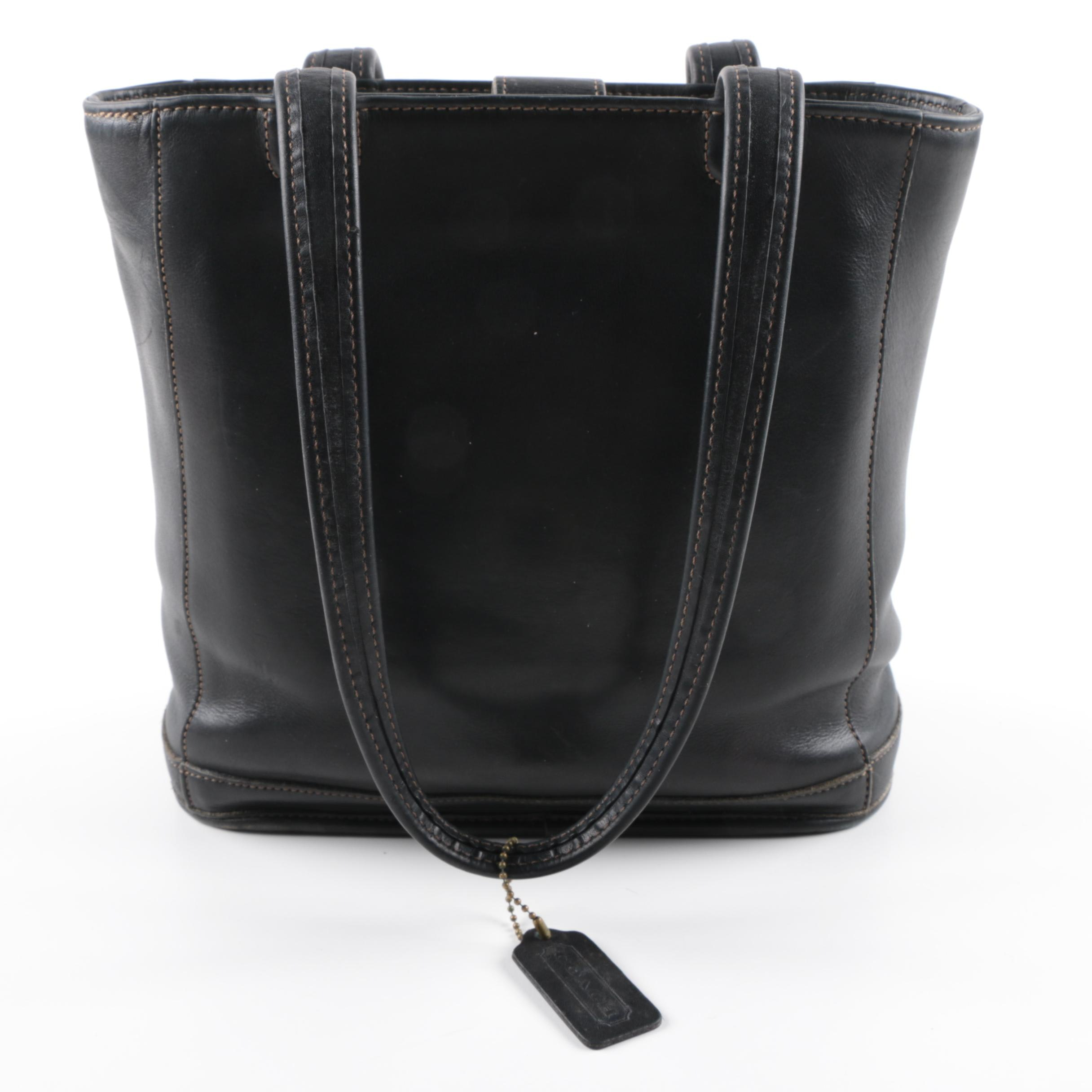 Coach Bleecker Black Leather Bucket Tote