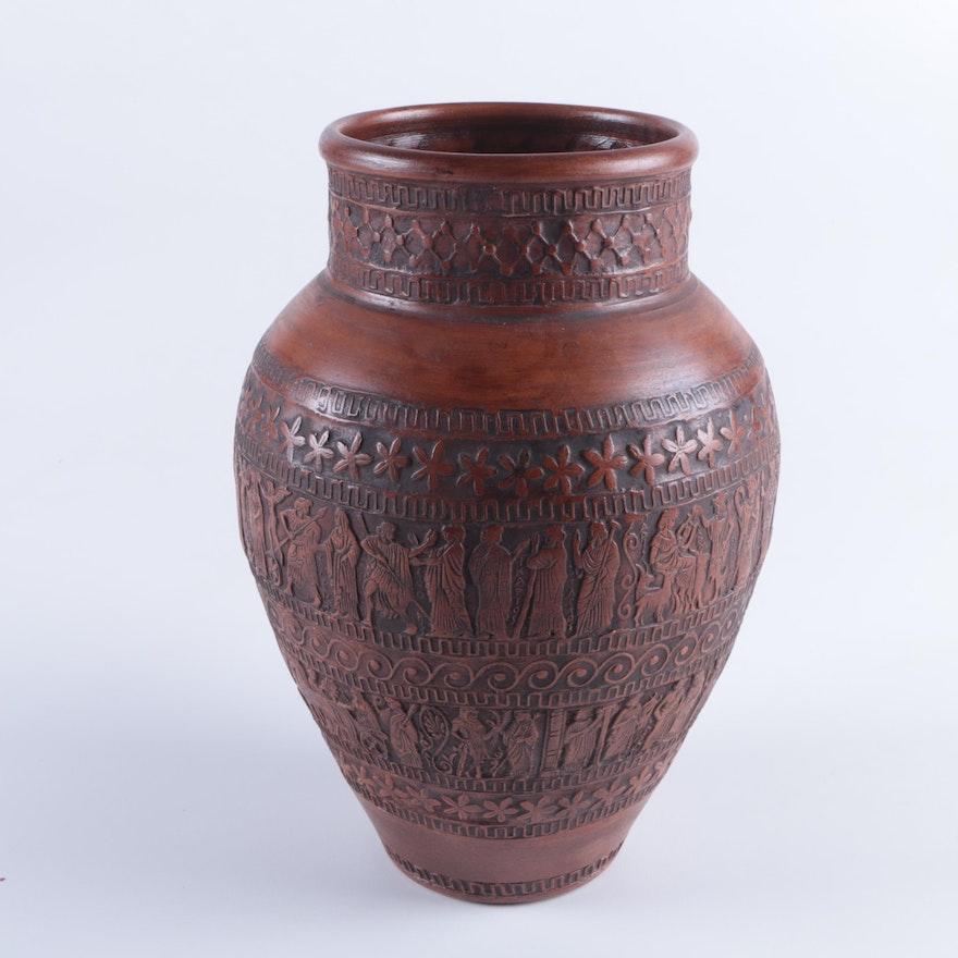 Greek Art Pottery Vase Ebth