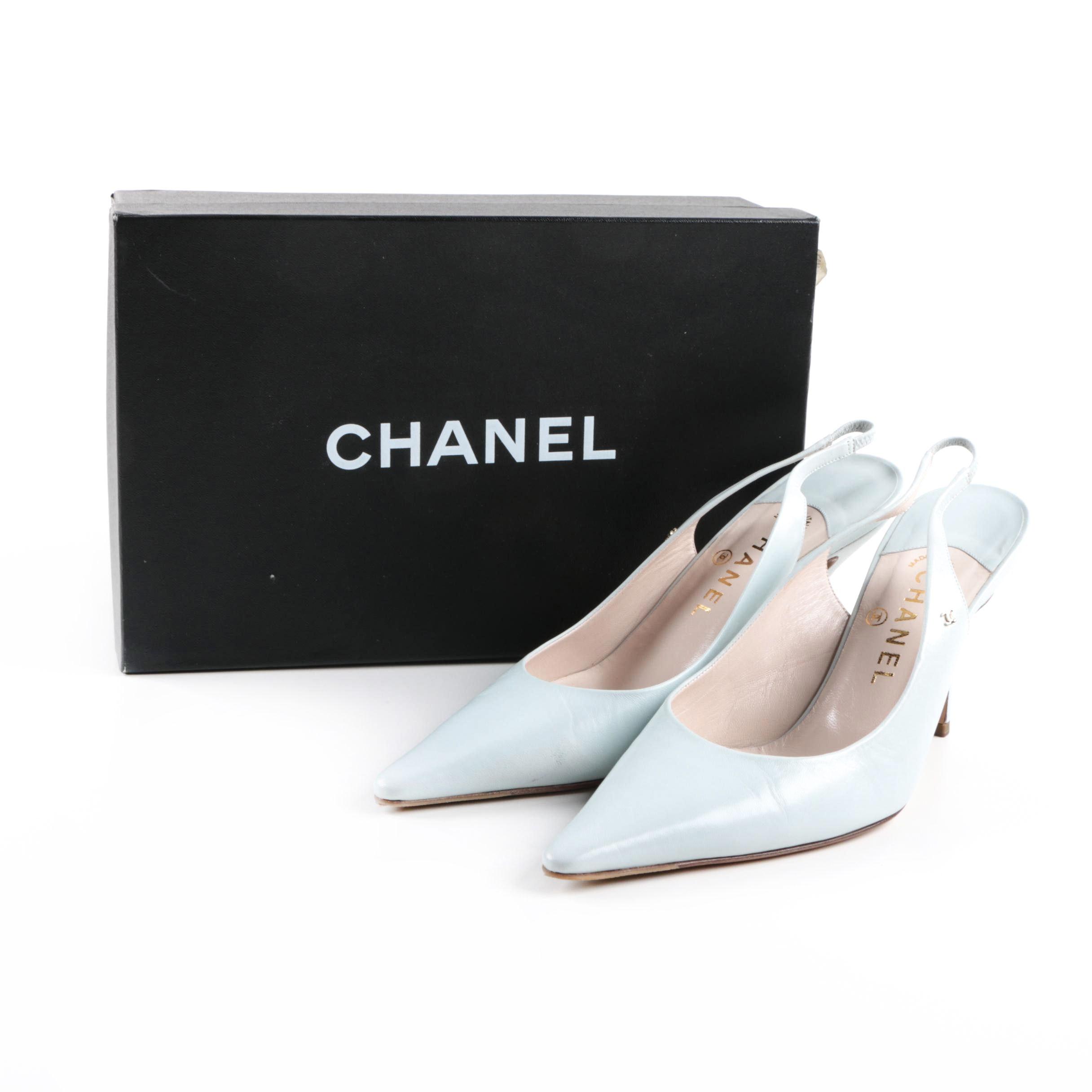 Women's Chanel Light Blue Slingback Heels
